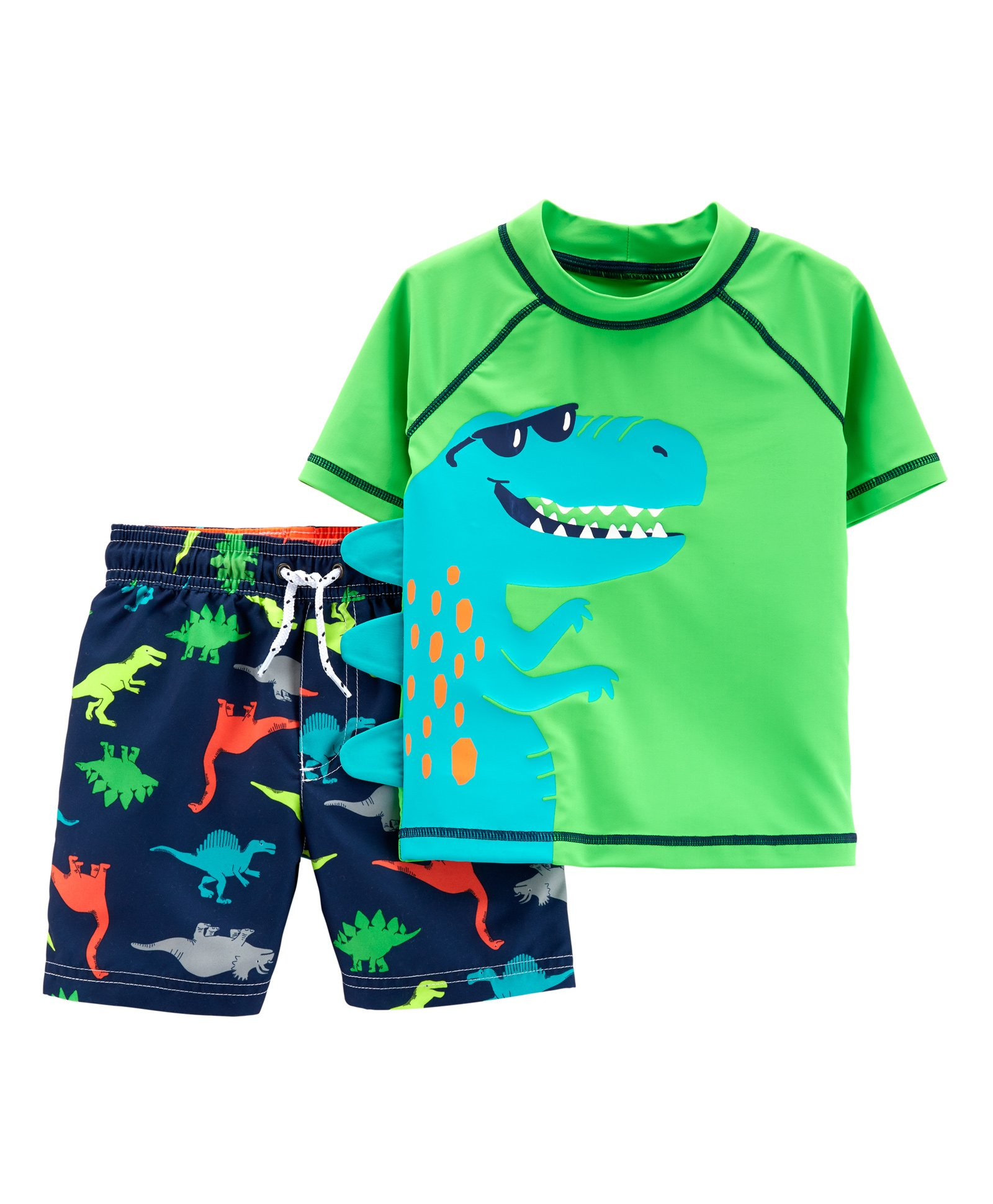 612150e70 Buy Carters 2Piece Dinosaur Rashguard Set Green Navy Blue for Boys