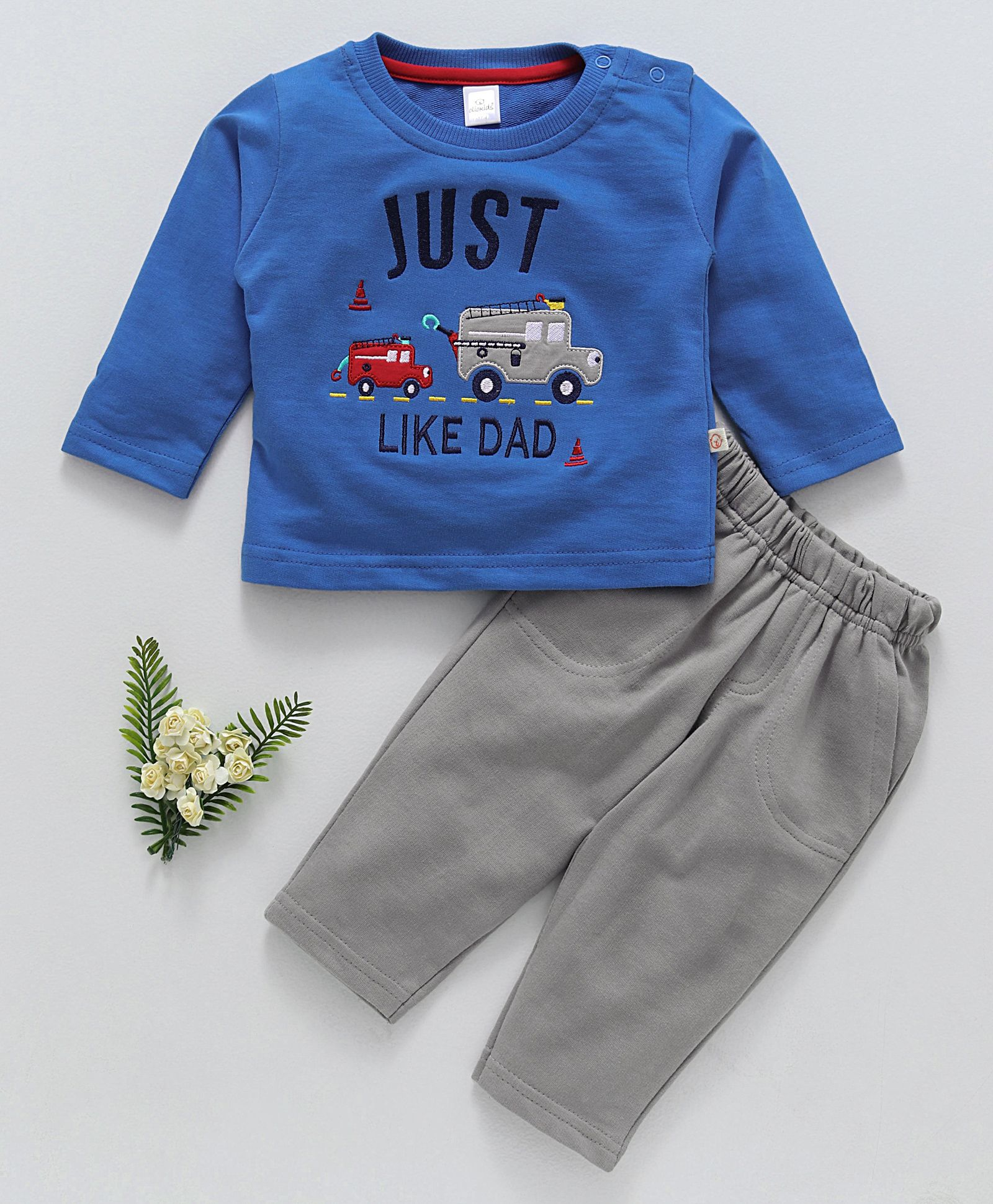 Buy Olio Kids Full Sleeves Tee & Lounge Pant Embroidered Fire Truck Blue  Grey for Boys (3-6 Months) Online in India, Shop at FirstCry com - 2204835