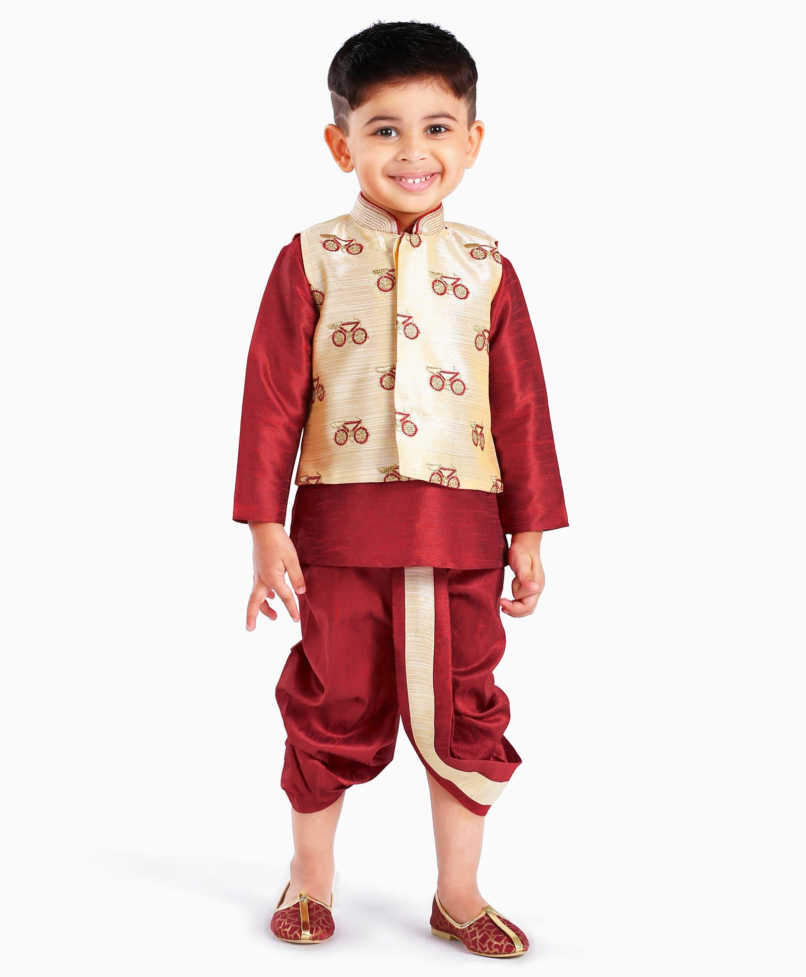3b3ed22cd Buy Little Aryan Dhoti & Full Sleeves Kurta With Jacket Cycle Embroidered  Maroon for Boys (2-3 Years) Online in India, Shop at FirstCry.com - 2208960