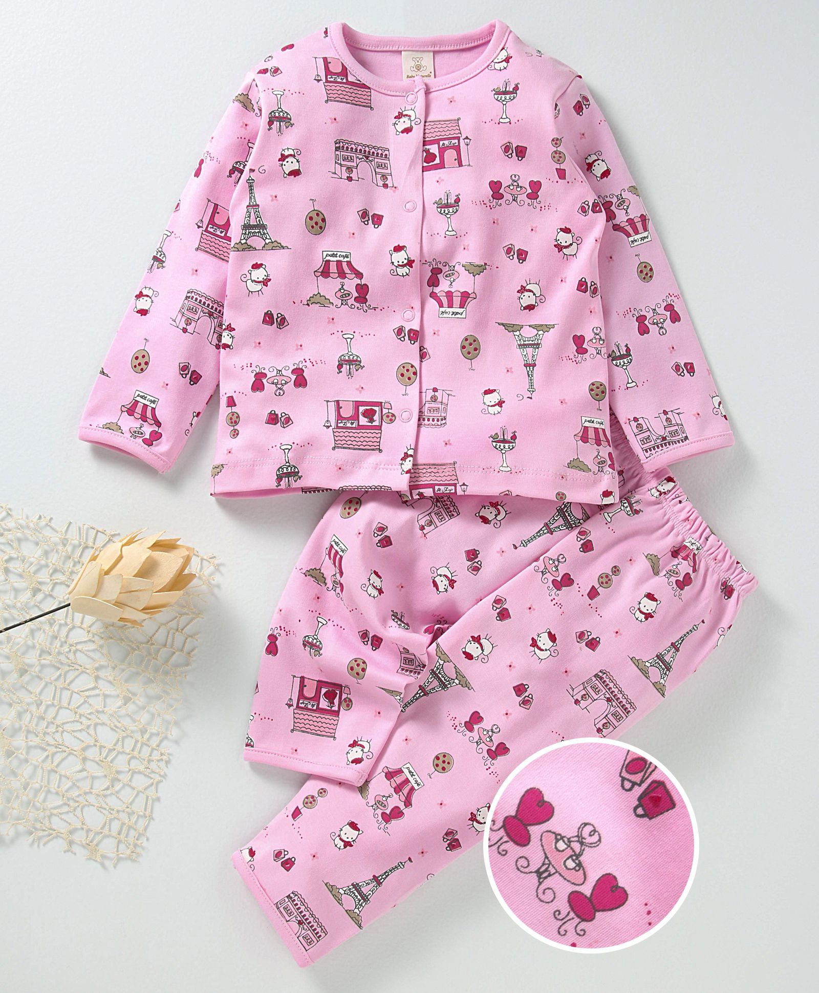 205dfc8d89 Buy Baby Naturelle & me Full Sleeves Night Suit Allover Print Pink for ...