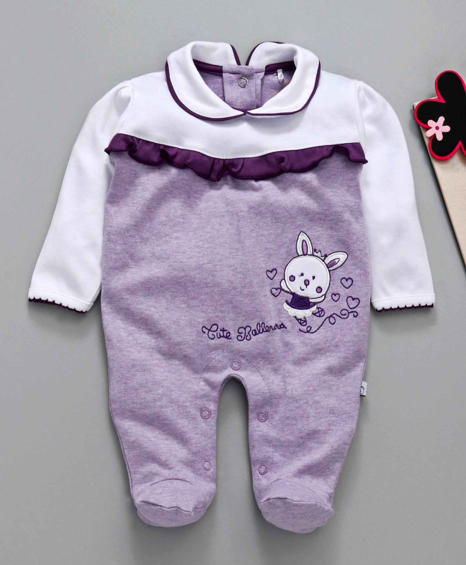 4aed0d1d1 Buy Baby Go Full Sleeves Footed Romper Rabbit Patch Purple for ...