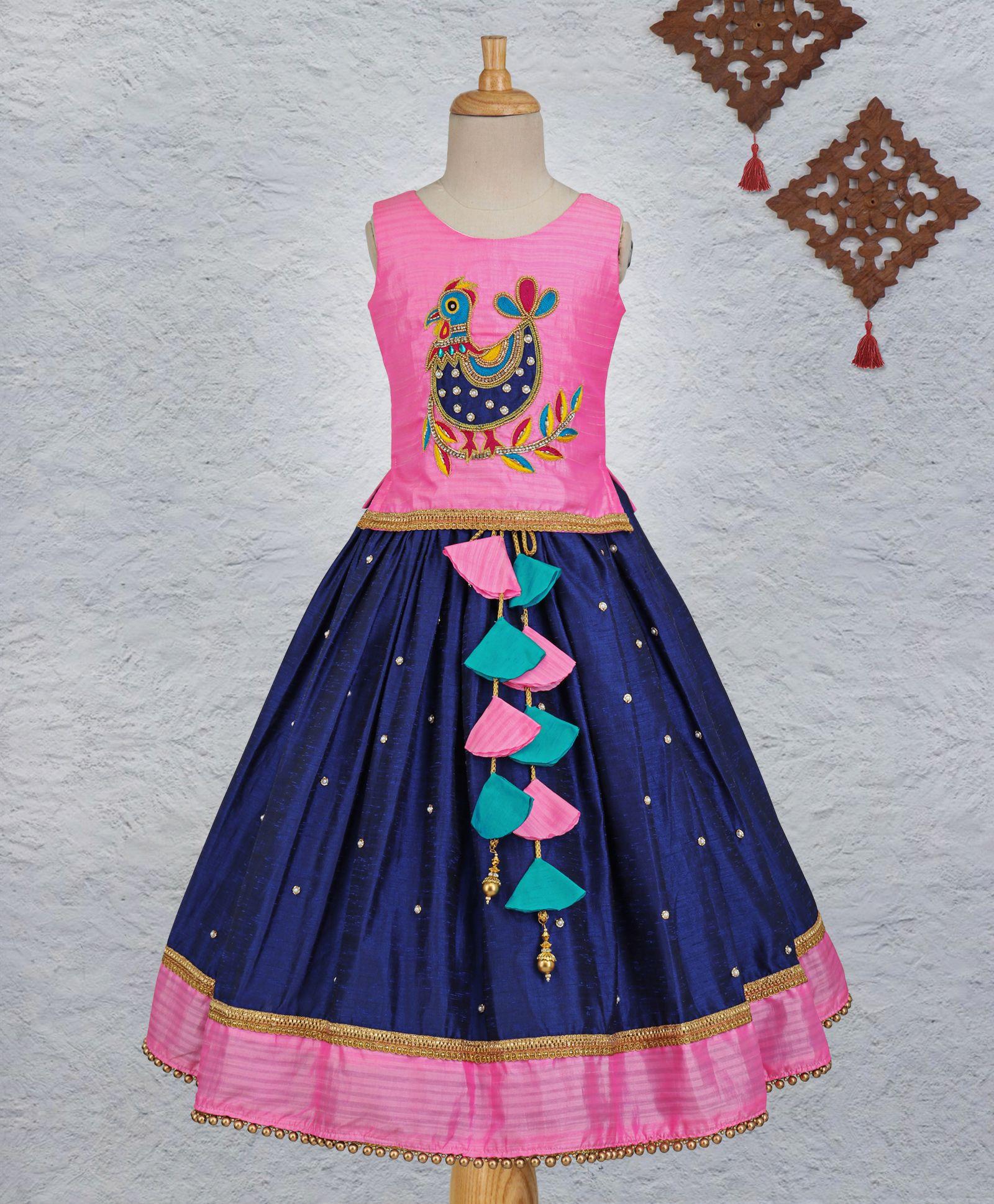a9e5429063 Li&Li Boutique Hen Design Hand Work Choli & Lehenga Set - Pink & Blue