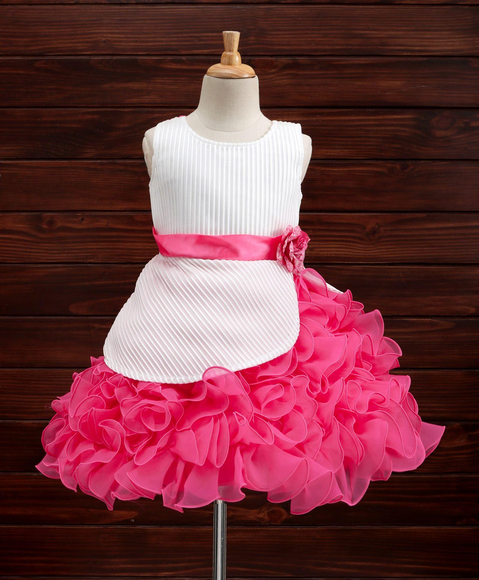 375befeff64b4 Buy Maalka Sleeveless Ruffle Dress Dark Pink for Girls (4-5 Years) Online  in India, Shop at FirstCry.com - 2229953