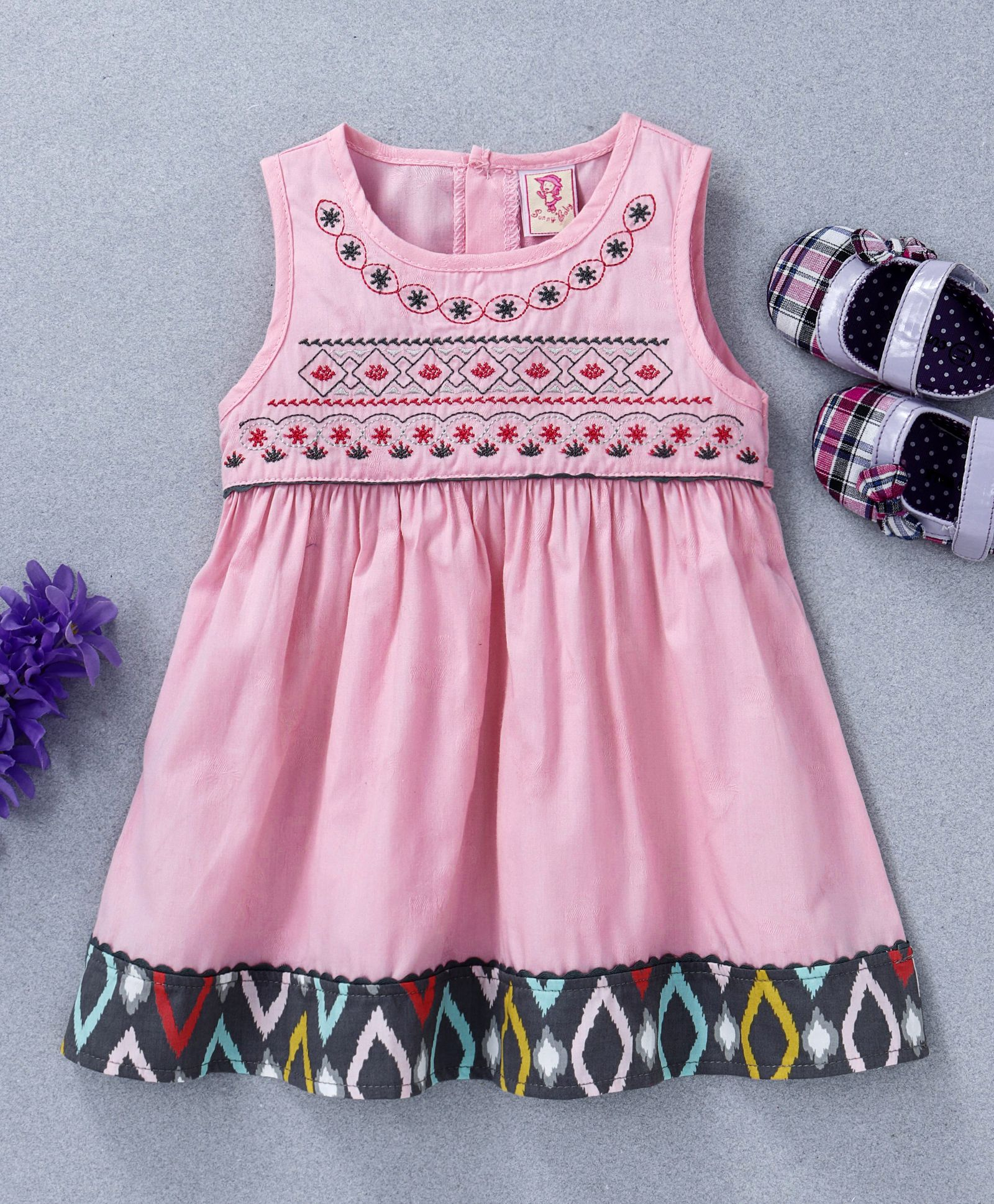 ccf3a6afea76 Buy Sunny Baby Embroidered Sleeveless Dress Pink for Girls (0-3 ...