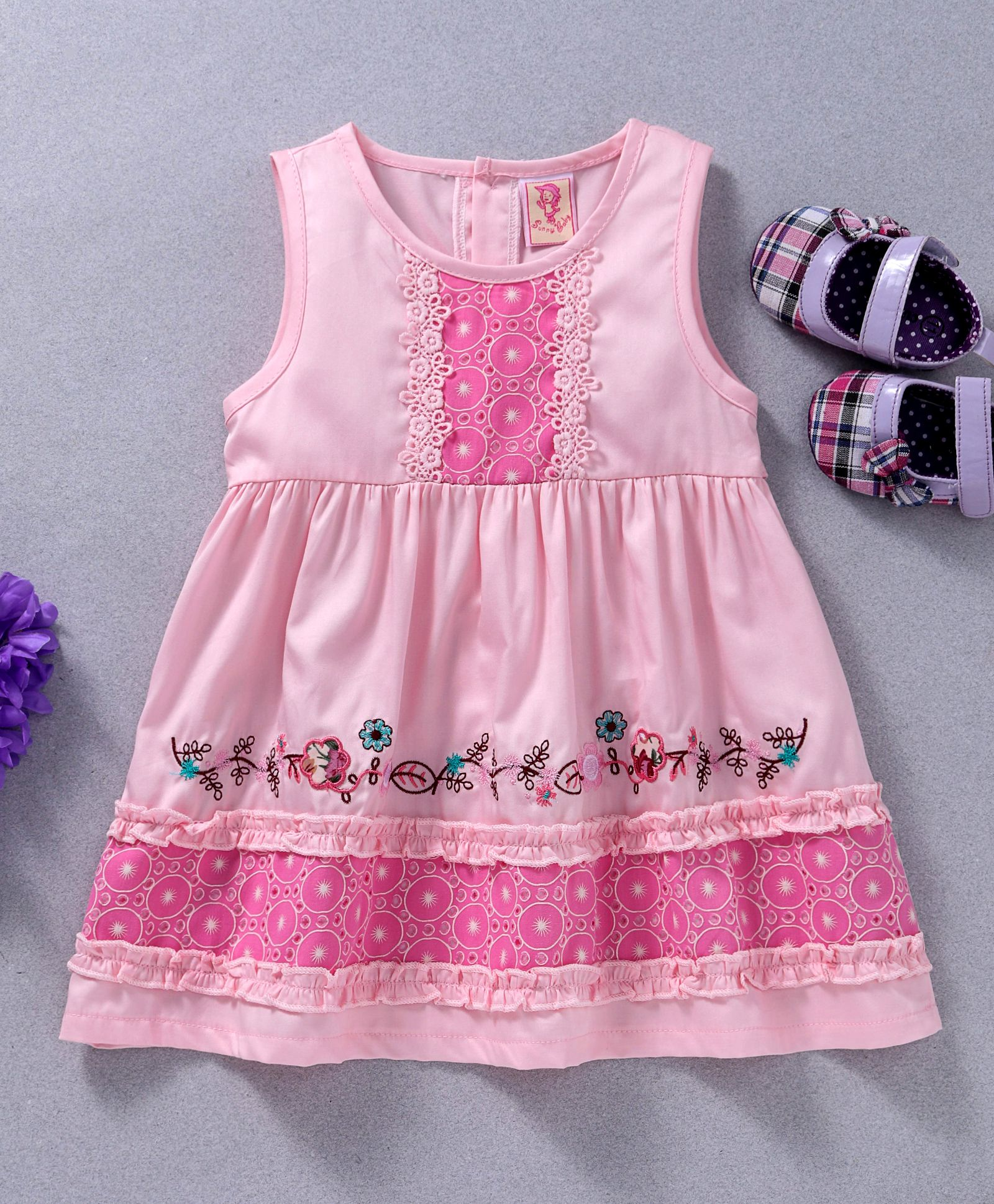 4dcc44d94d15 Sunny Baby Flower Embroidery & Lace Trimming Sleeveless Dress - Pink