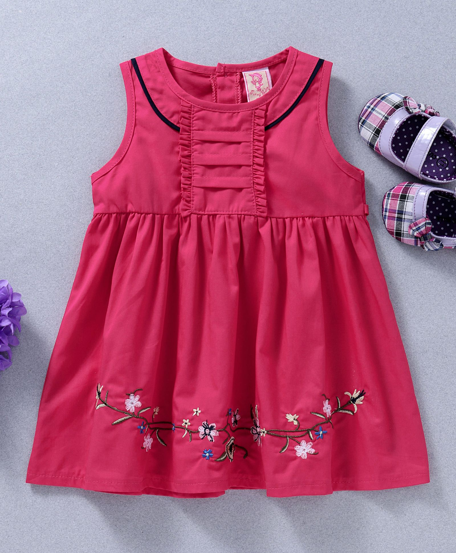 04912b2995b6 Buy Sunny Baby Floral Embroidered Sleeveless Dress Pink for Girls (0 ...