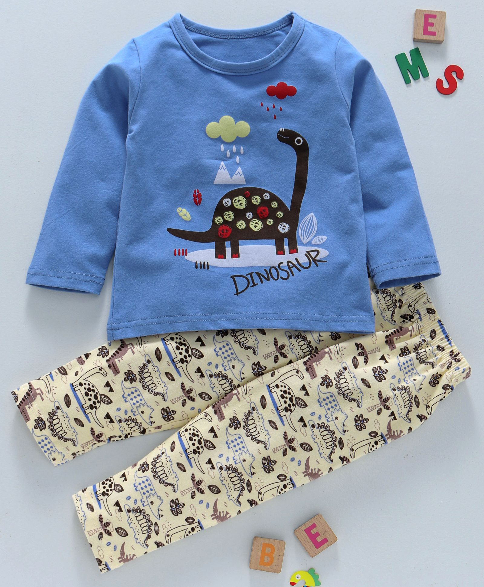 5a5655a214a Buy Kookie Kids Cloud   Dinosaur Print Night Suit Blue for Boys (3-6 ...