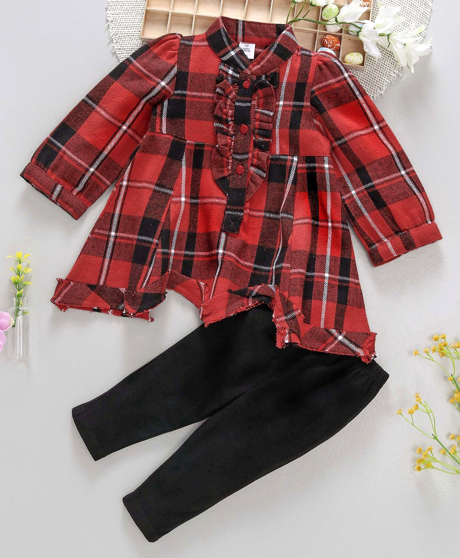 c0f827d46077 Buy ToffyHouse Full Sleeves Check Frock And Leggings Set Red ...