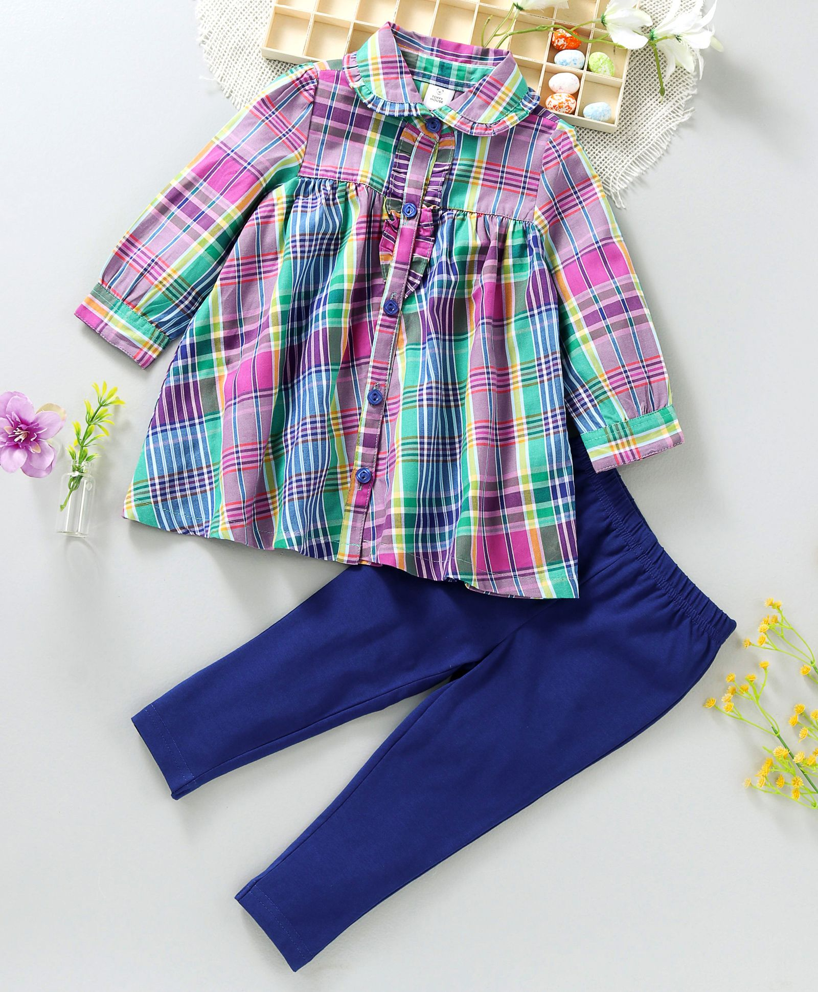 6dac95356510 Buy ToffyHouse Frock Style Top   Leggings Checked Pink Blue for ...