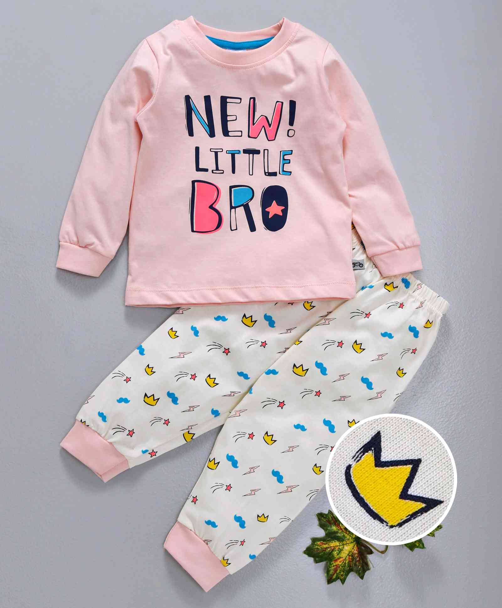 3a82eb1dc Ollypop Full Sleeves Night Suit New Little Bro Print - Pink & White. 3 to 6  Months ...