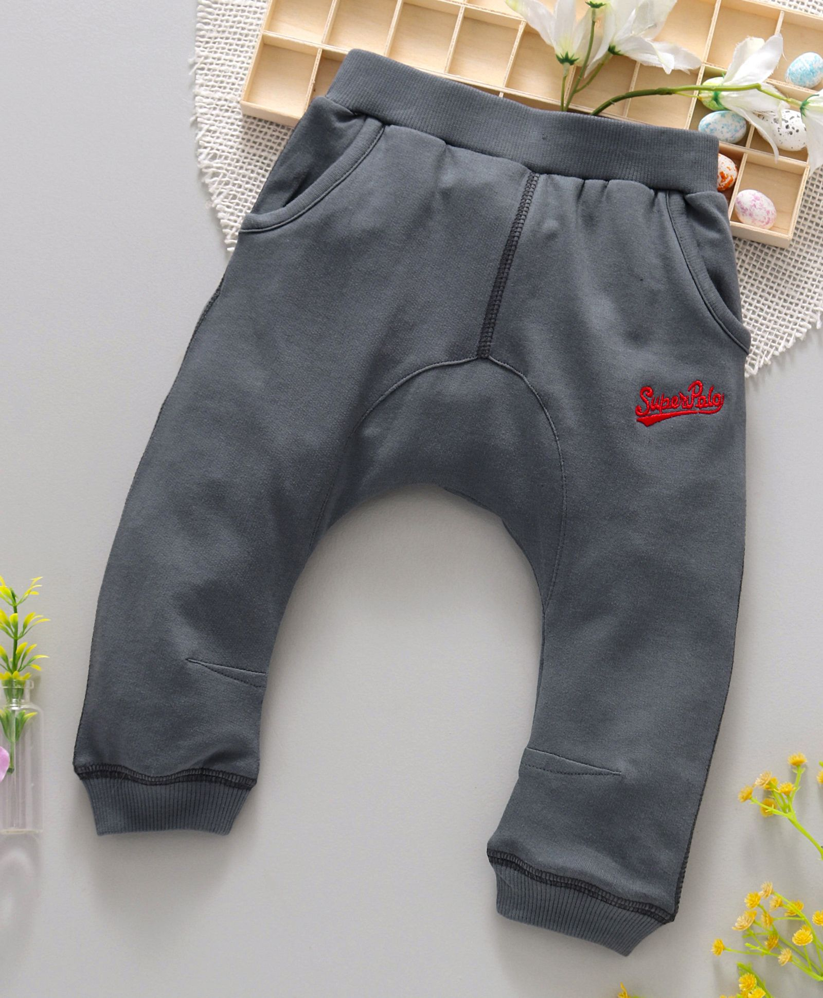 9f2679ae Buy ToffyHouse Diaper Leggings Superpolo Embroidered Dark Grey ...