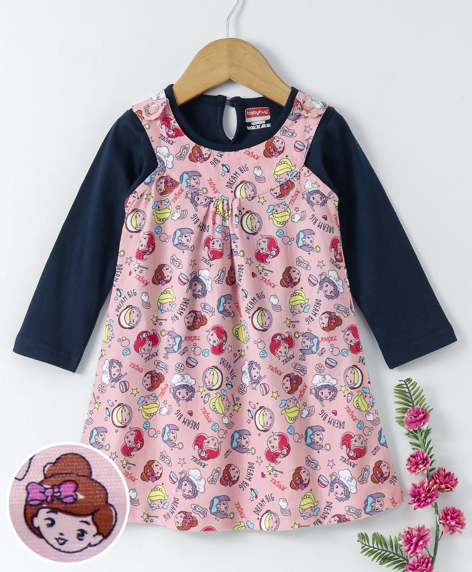 6197fe5470bc0 Buy Babyhug Printed Corduroy Frock With Inner Tee Peach Navy for ...