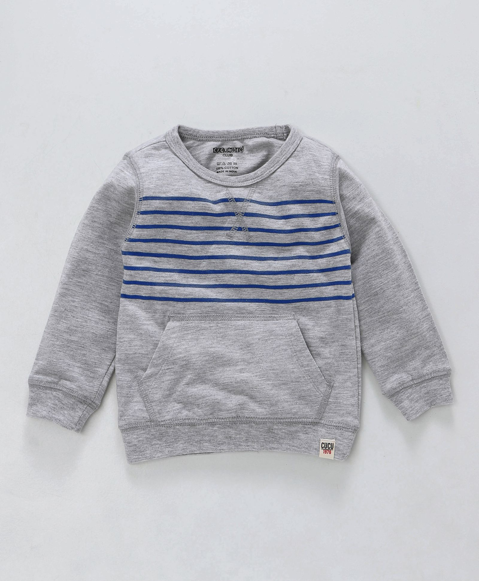 c867dd78f3d6 Buy Cucumber Full Sleeves Winter Wear Striped Tee With Pocket ...