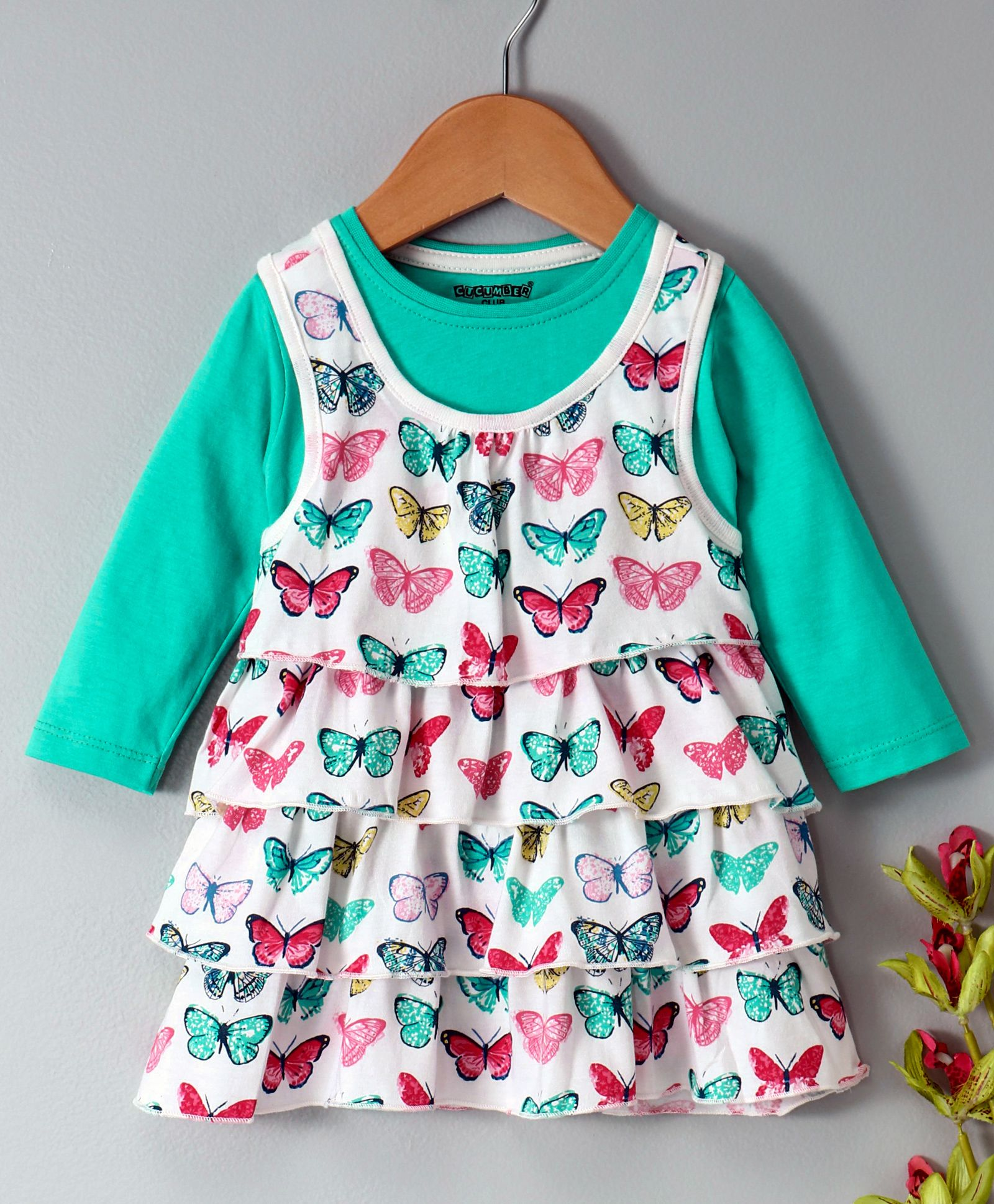 c8a671388370 Buy Cucumber Layered Frock With Full Sleeves Inner Tee Butterfly ...