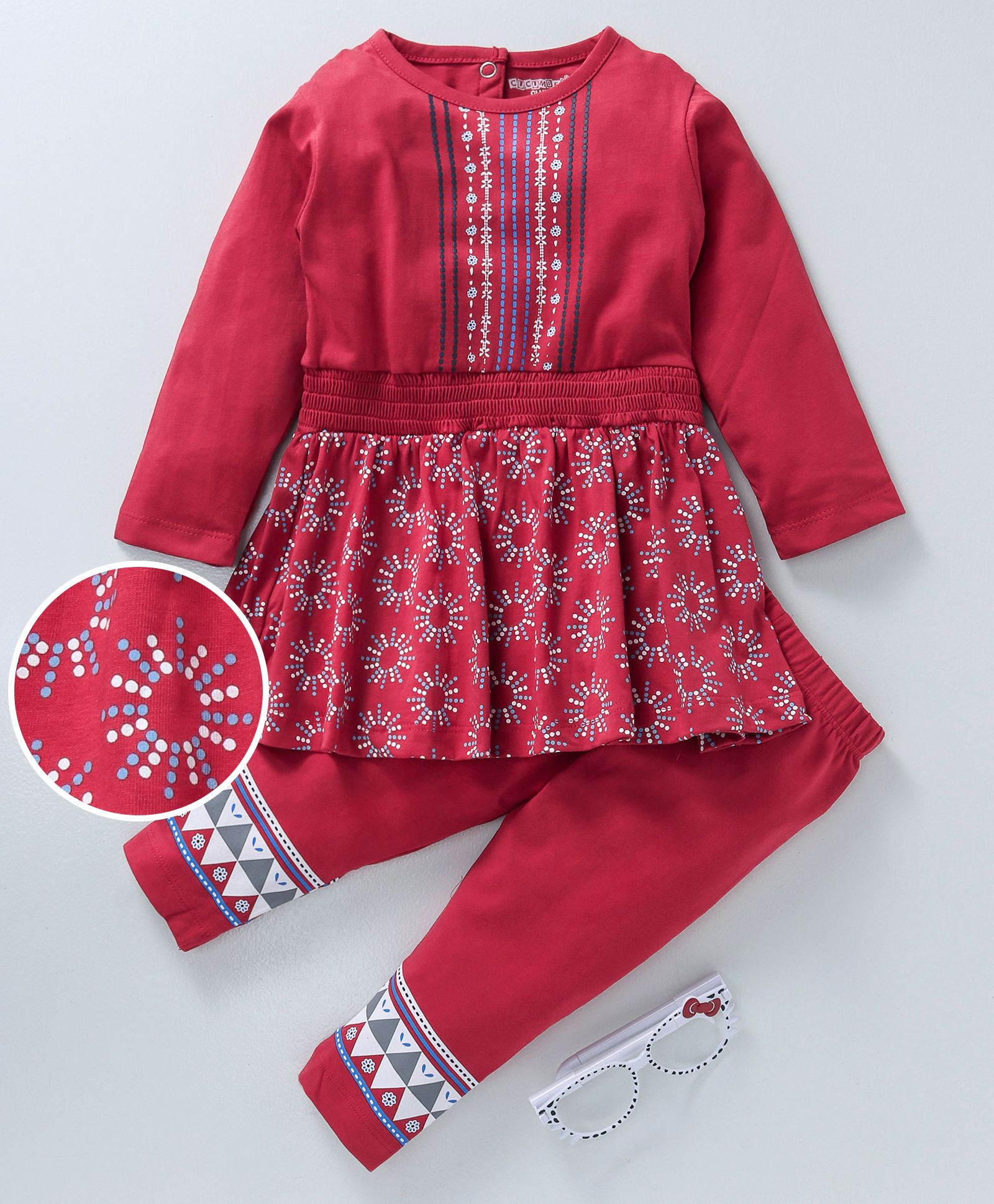 aabca71108e9 Buy Cucumber Full Sleeves Frock With Leggings Embroidered Red for ...