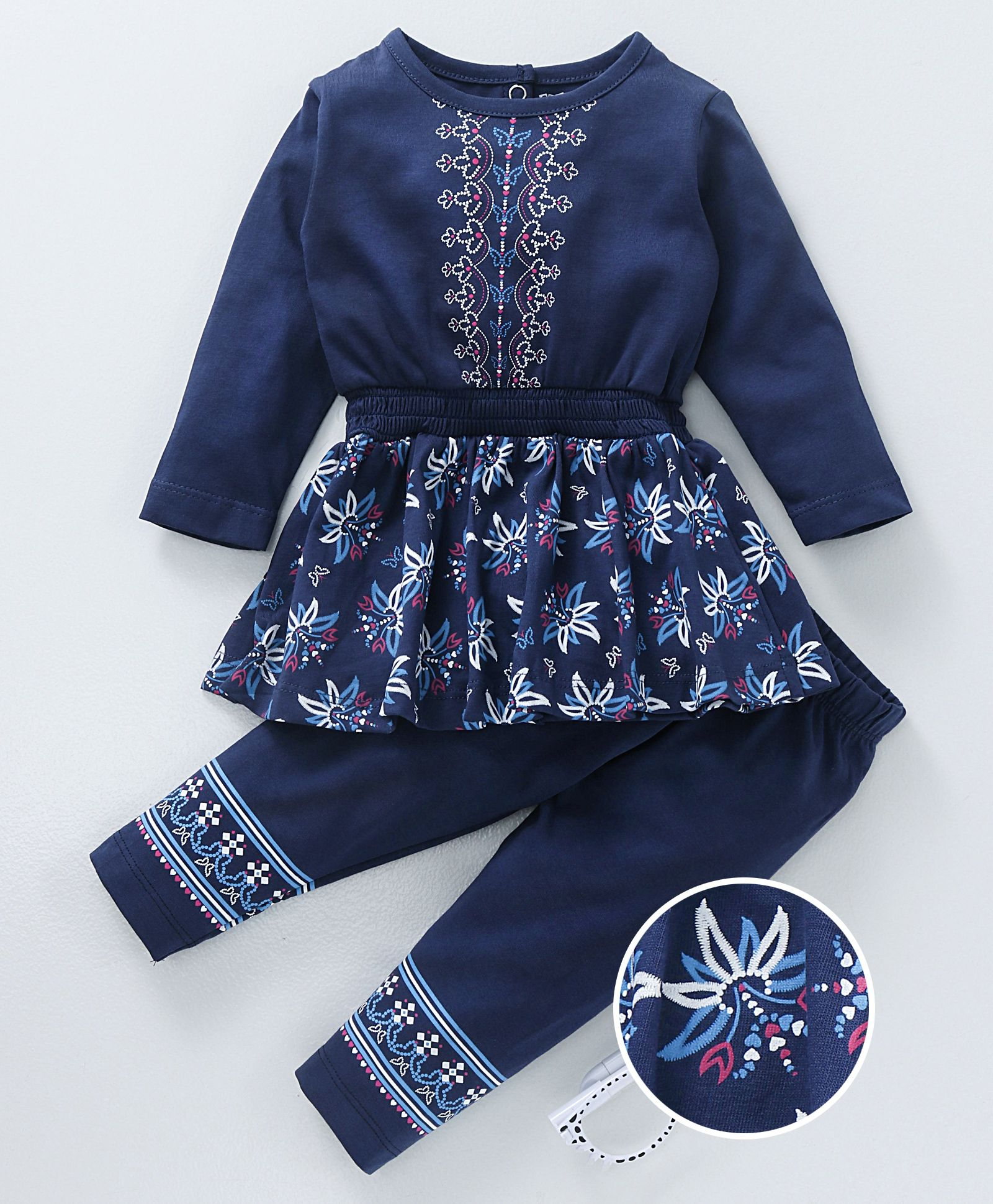 d69c79f5898e Cucumber Full Sleeves Frock With Leggings Floral Print - Navy Blue