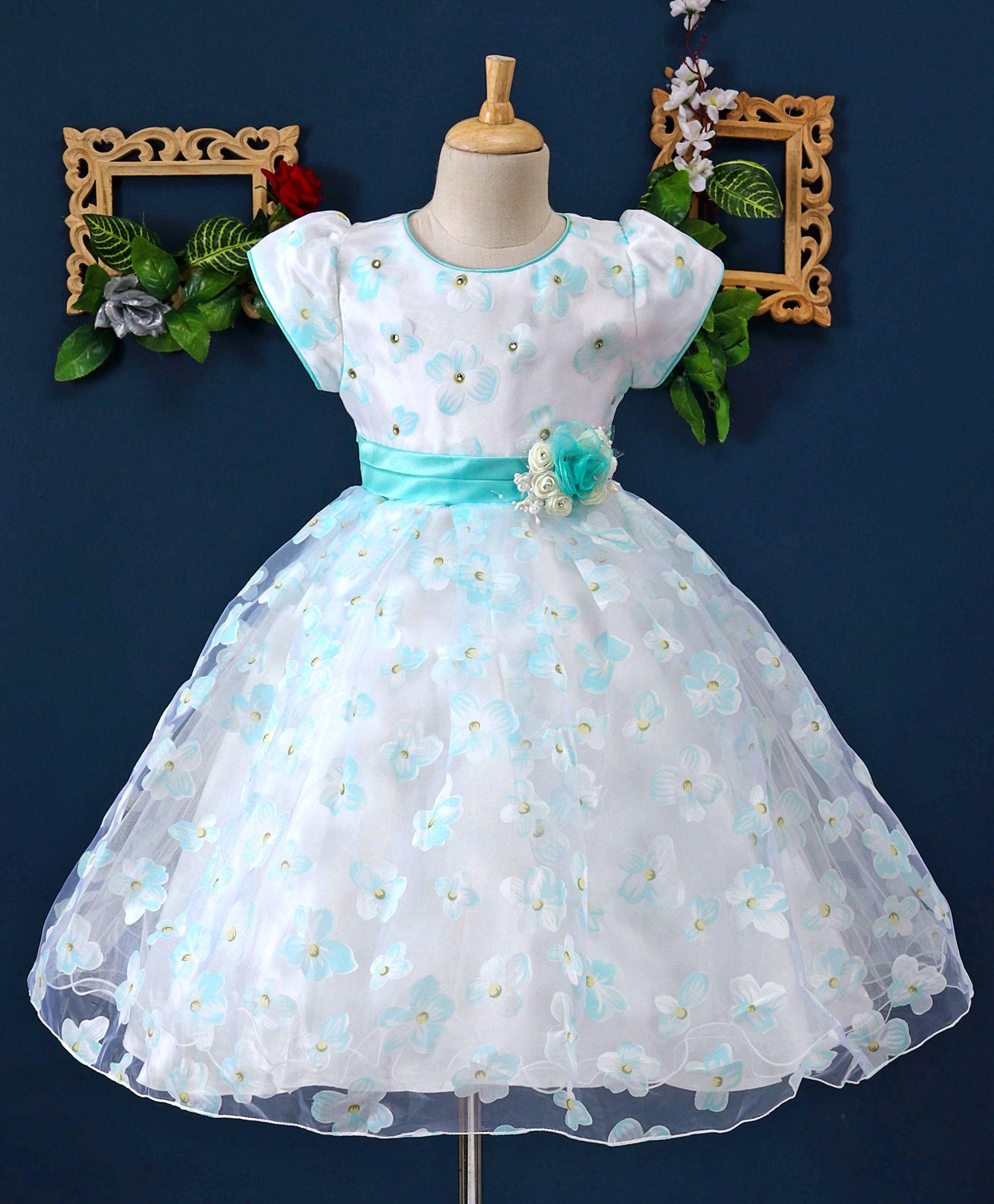 5262e407a420 Mark   Mia Flower Theme Cap Sleeves Puffy Dress - White. 0 to 3 Months