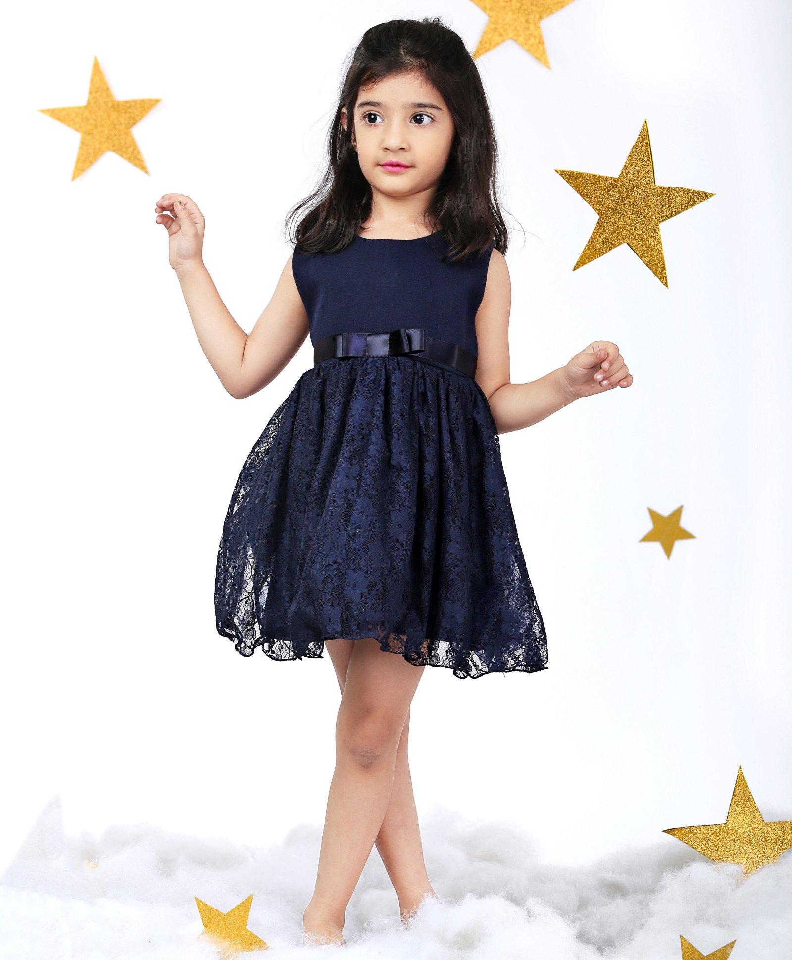 ae9a2c77c1e4c Buy Mark & Mia Flower Embroidery On Net Sleeveless Dress Dark ...