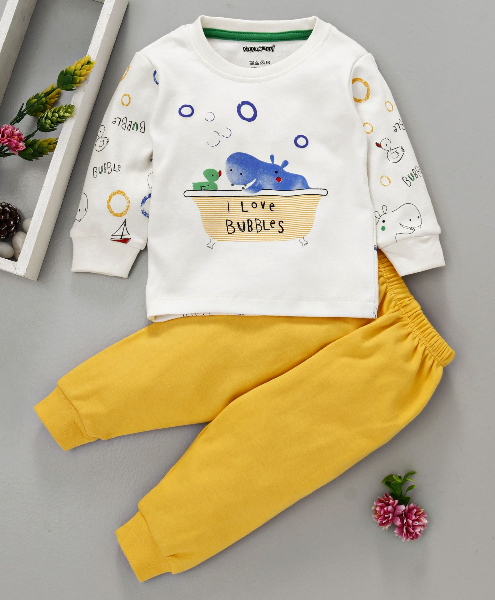 f4c0d1a89b5d Buy Cucumber Full Sleeves Tee With Lounge Pant Hippo Print Yellow ...