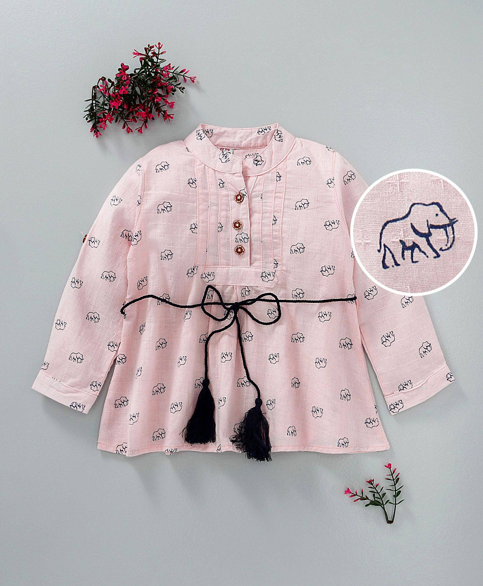 fc5491232 Buy ZY Baby Elephant Print Full Sleeves Dress Pink for Girls (2-3 ...