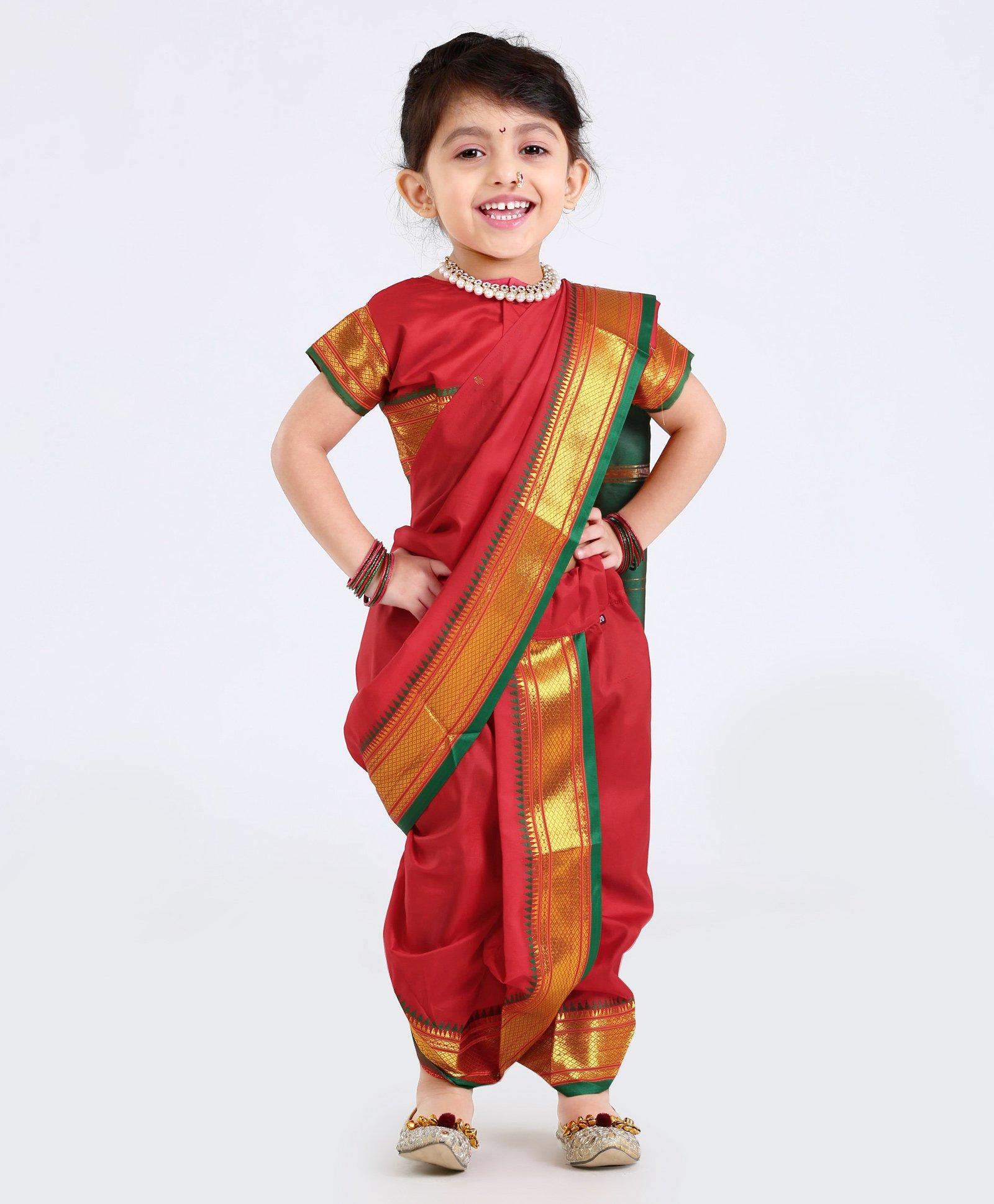 e0135d25dcf669 Buy Bhartiya Half Sleeves Blouse And Nauvari Saree Red for Girls (6 ...