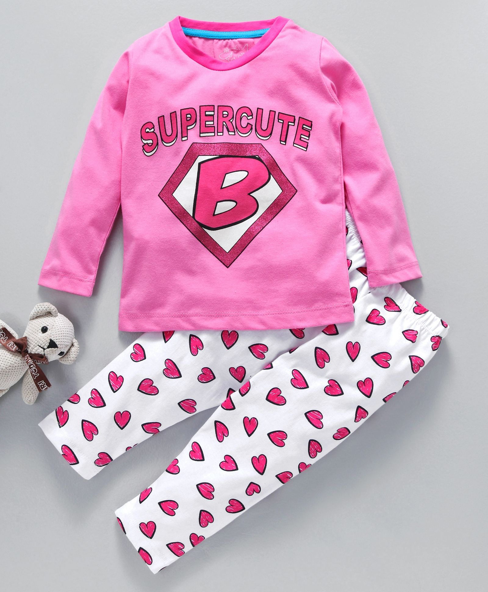 34d669cbc8 Lazy Shark Super Cute & Heart Print Night Suit Set - Pink. 2 to 3 Years ...