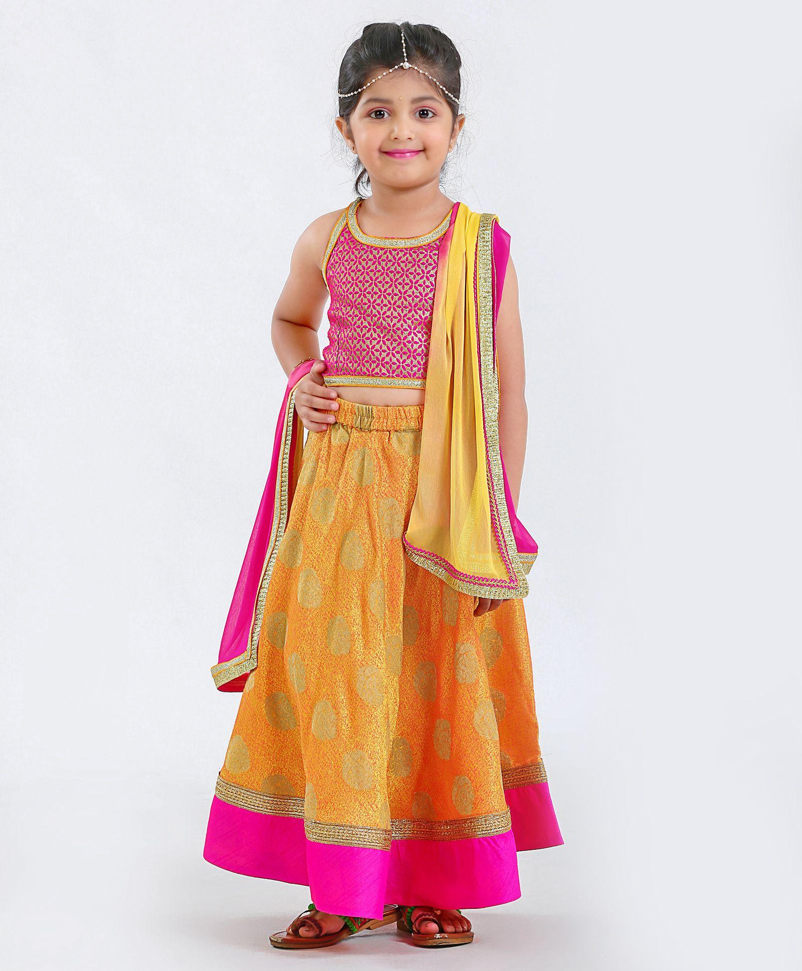 b22c452f942 Kids Chakra Sleeveless Choli With Dupatta   Lehenga Set - Pink   Orange. 2  to 3 Years ...