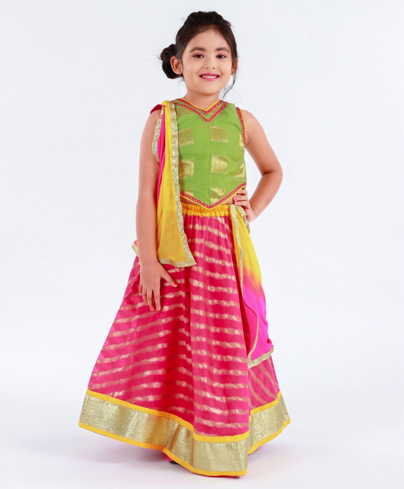 25ba647ed Buy Kids Chakra Choli With Dupatta   Leheriya Print Lehenga Set ...