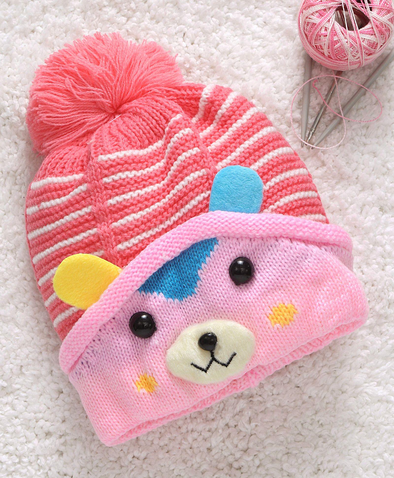 d2d7c08ec7d Babyhug Winter Wear Cap Bear Face Design Pink Online in India