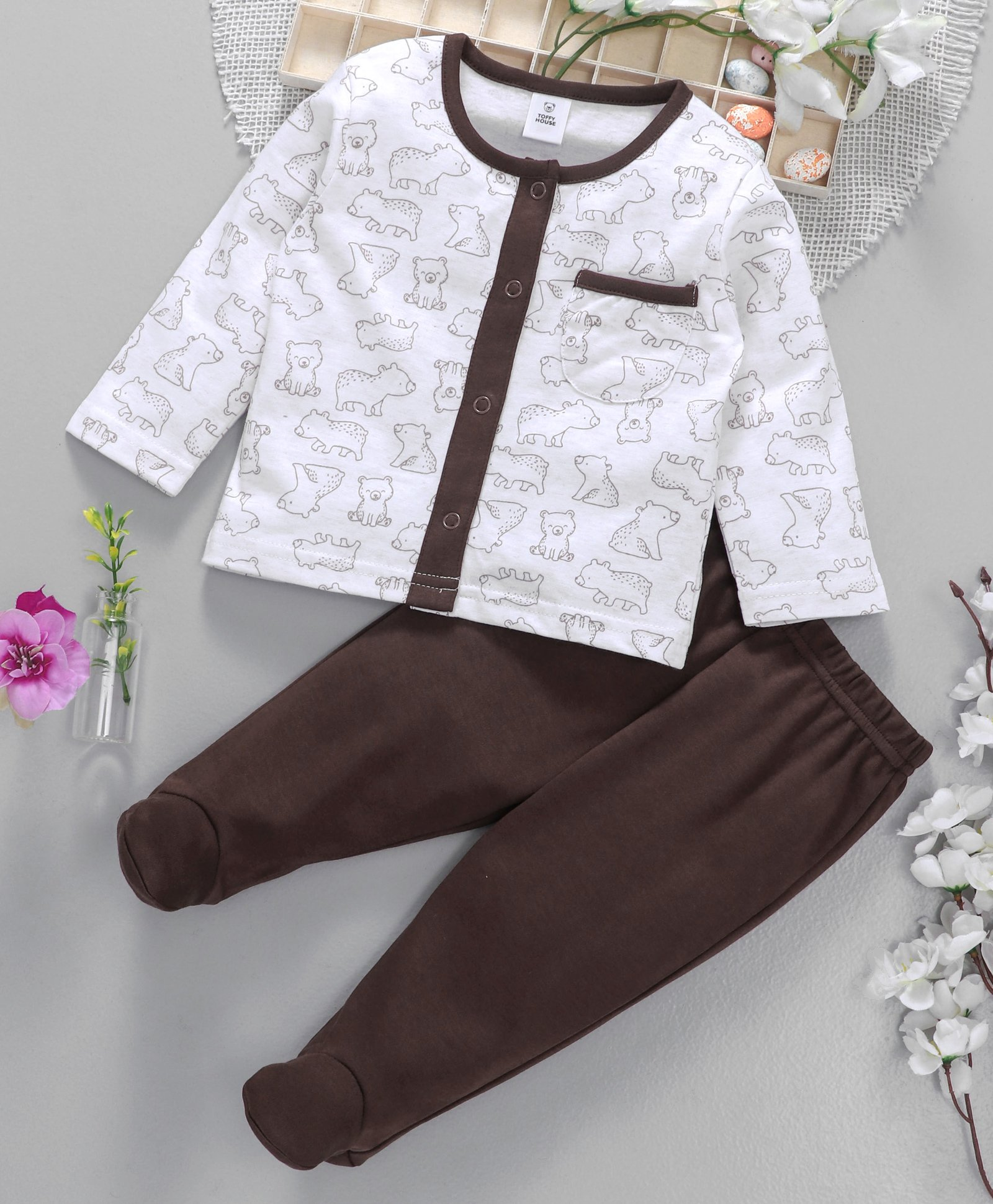 3f7620d396f00 Buy ToffyHouse Full Sleeves Tee With Footed Bootie Leggings Brown ...