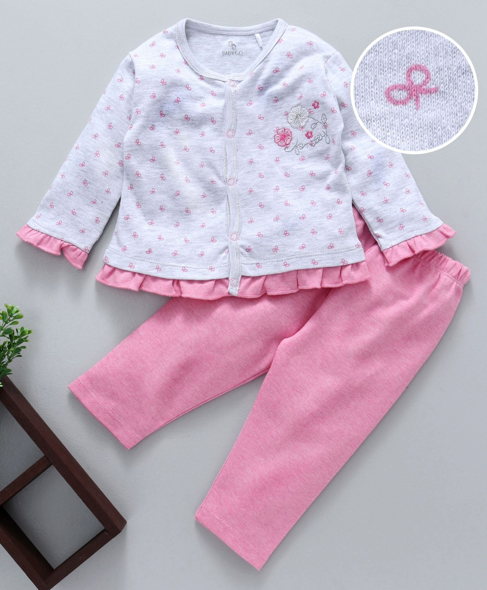 e9287f212dc34 Buy Baby Go Full Sleeves Night Suit Bow Print Grey & Pink for Girls (6-12  Months) Online in India, Shop at FirstCry.com - 2309061