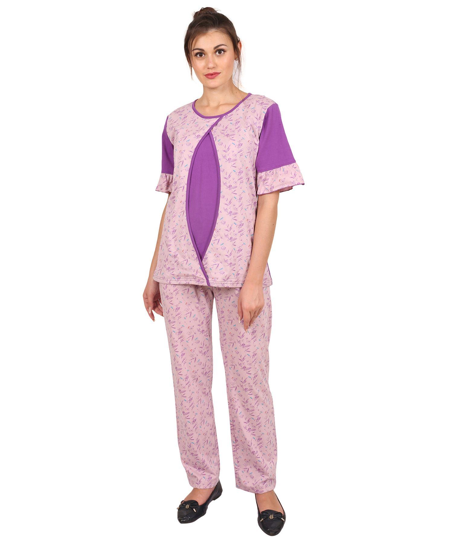 f7d26f16538a2 9teenAGAIN Floral Printed Nursing Night Suit Purple Online in India ...