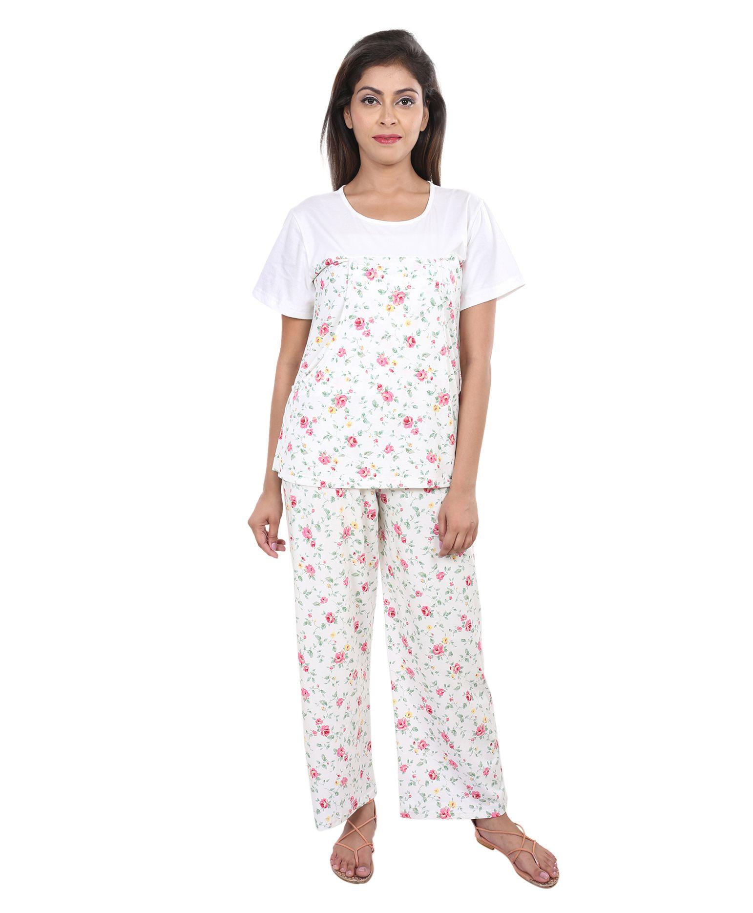 fe6da2abfe5f4 9teenAGAIN Floral Print Nursing Night Suit Set White Online in India ...