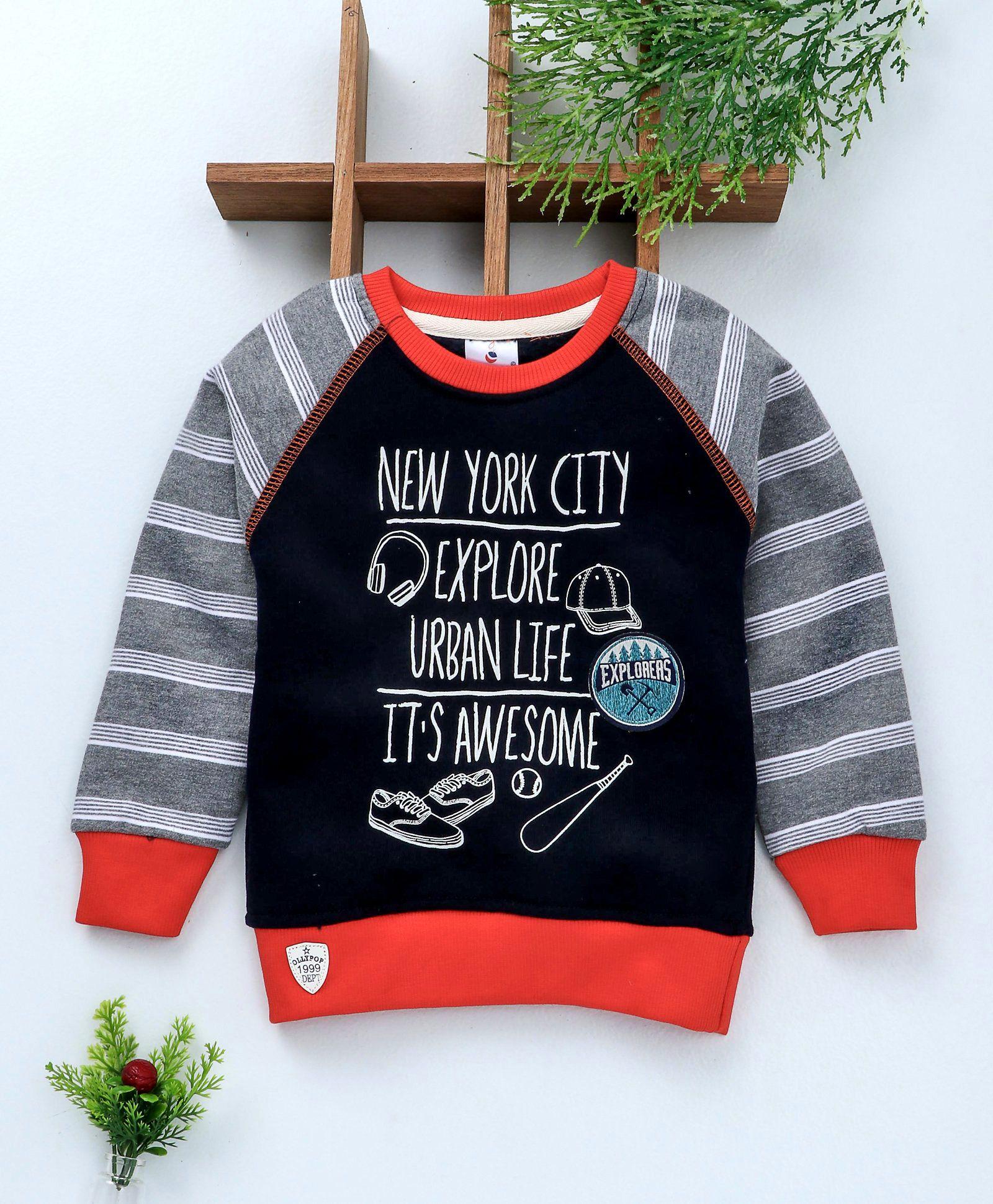 af3cf122 Ollypop Full Sleeves Sweatshirt New York City Print - Navy Blue & Grey