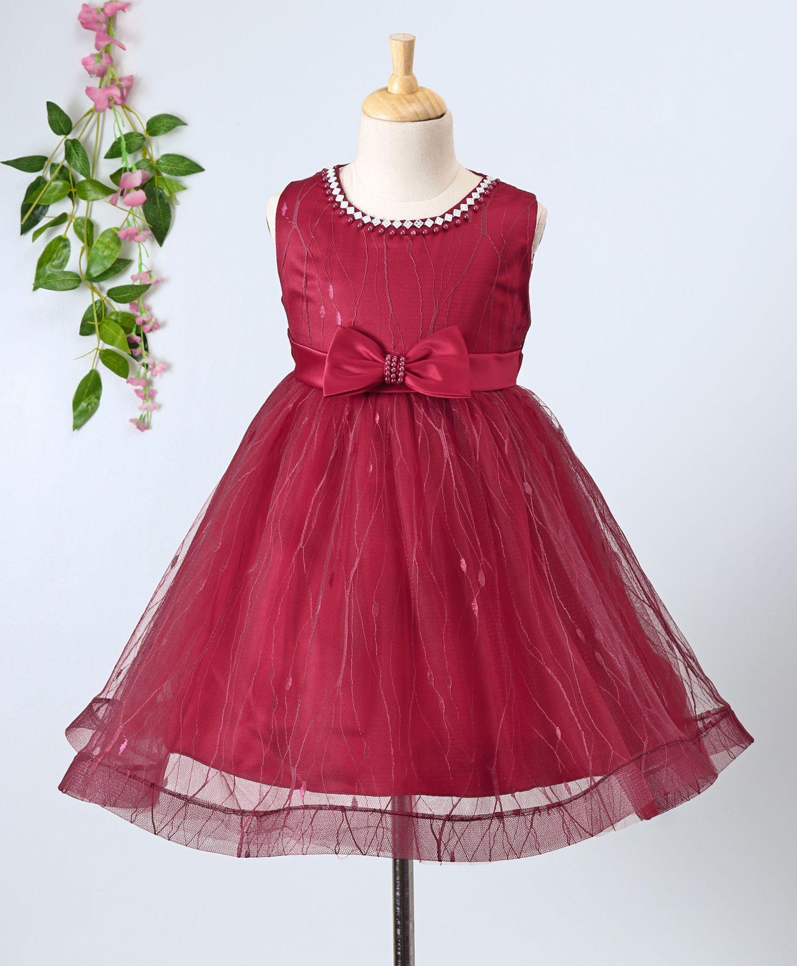 5bb2367b8fd3d Buy Aodaya Bow Applique Sleeveless Net Dress Maroon for Girls (3-6 Months)  Online in India, Shop at FirstCry.com - 2318698