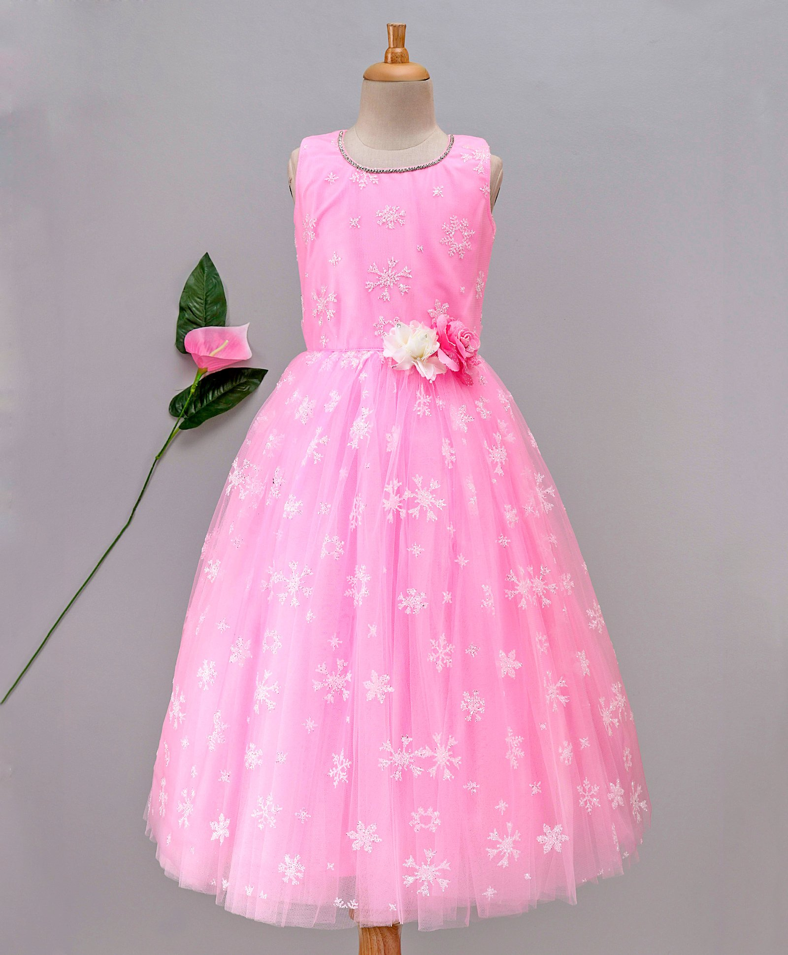 b99a725d341cd Buy Enfance Flower Embellished Sleeveless Net Gown Pink for Girls (7-8  Years) Online in India, Shop at FirstCry.com - 2320865