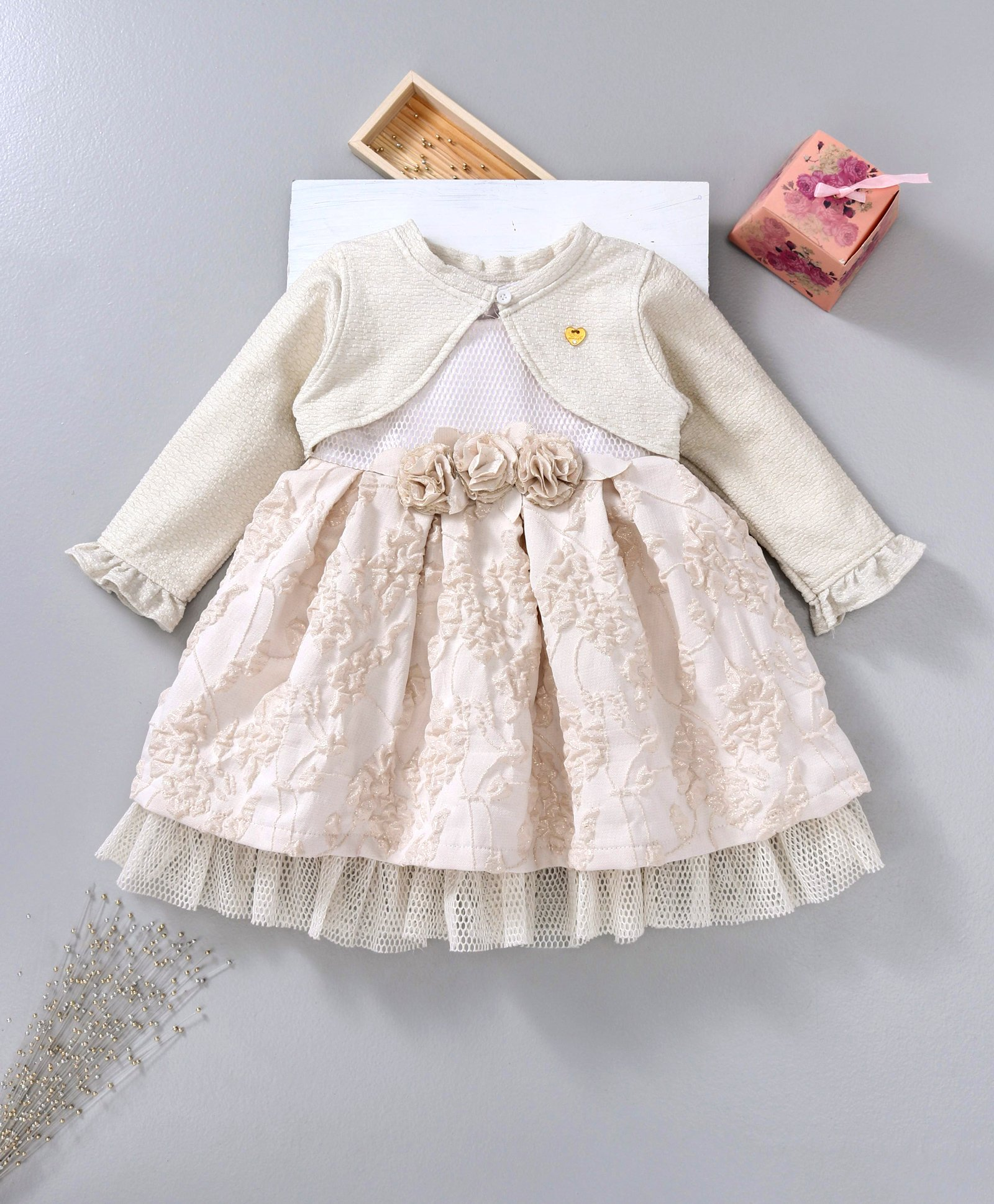 7f1f506253ce Buy Little Kangaroos Sleeveless Frock With Shrug Floral Corsage ...
