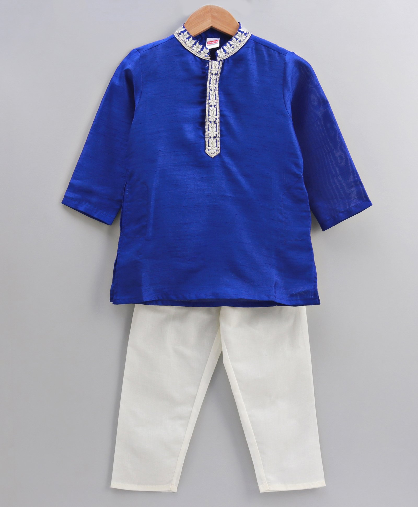 c5abcdecc5c2 Buy Babyhug Full Sleeves Embroidered Kurta Pyjama Set Blue White ...
