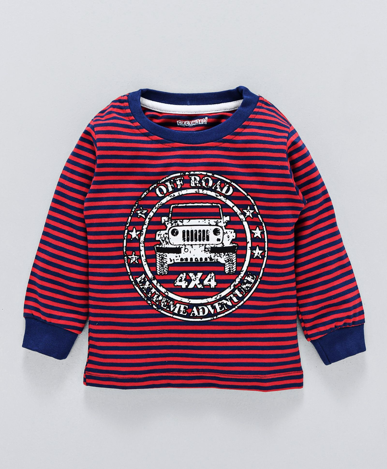 49de022aff Buy Cucumber Full Sleeves Striped Tee Car Print Red for Boys (3-6 ...