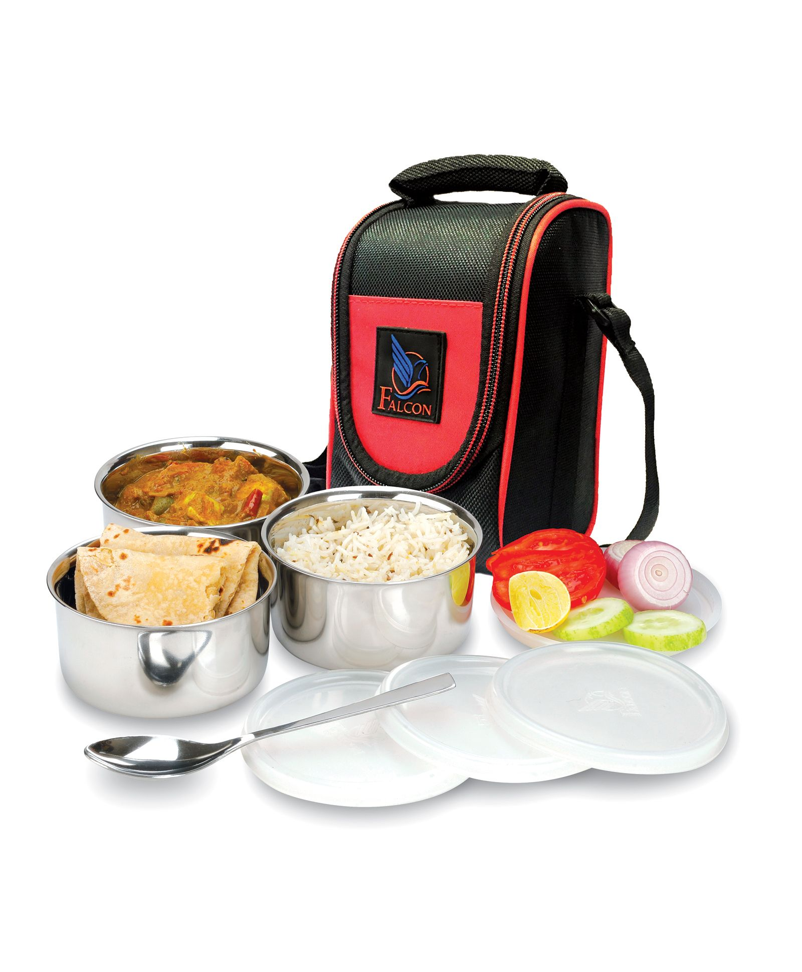Falcon Tuff Double Wall Tiffin 3 Piece Container With One Spoon & Insulated  Bag Black Online in India, Buy at Best Price from Firstcry com - 2326843