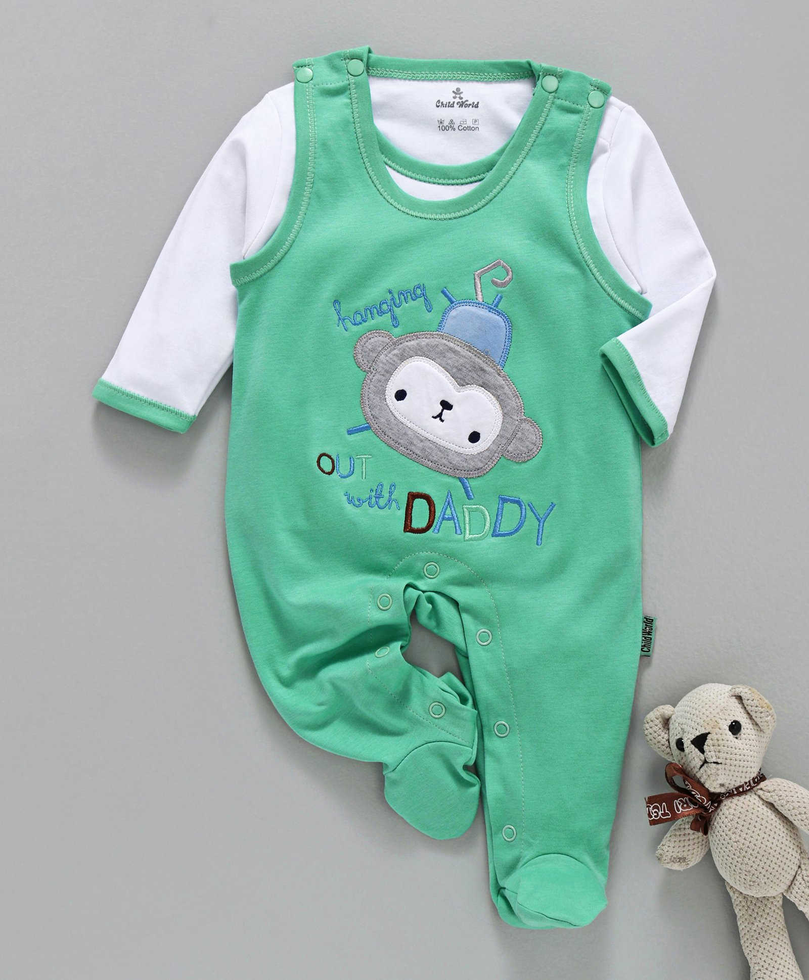3e432cf97d4 Buy Child World Sleeveless Romper With Tee Monkey Patch Green ...