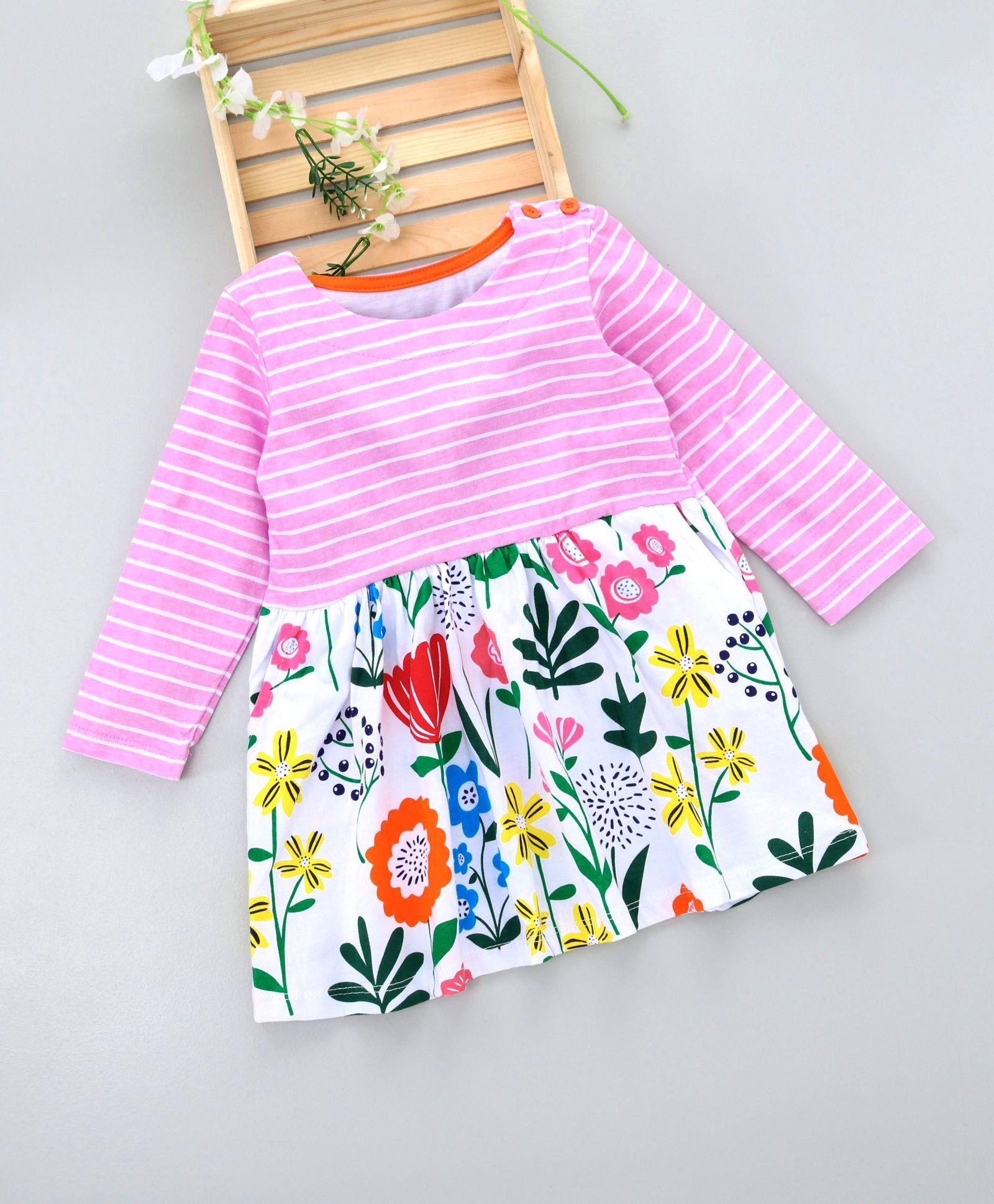 eabb0fad7dde2 Buy Kookie Kids Full Sleeves Striped Floral Printed Dress Pink for ...