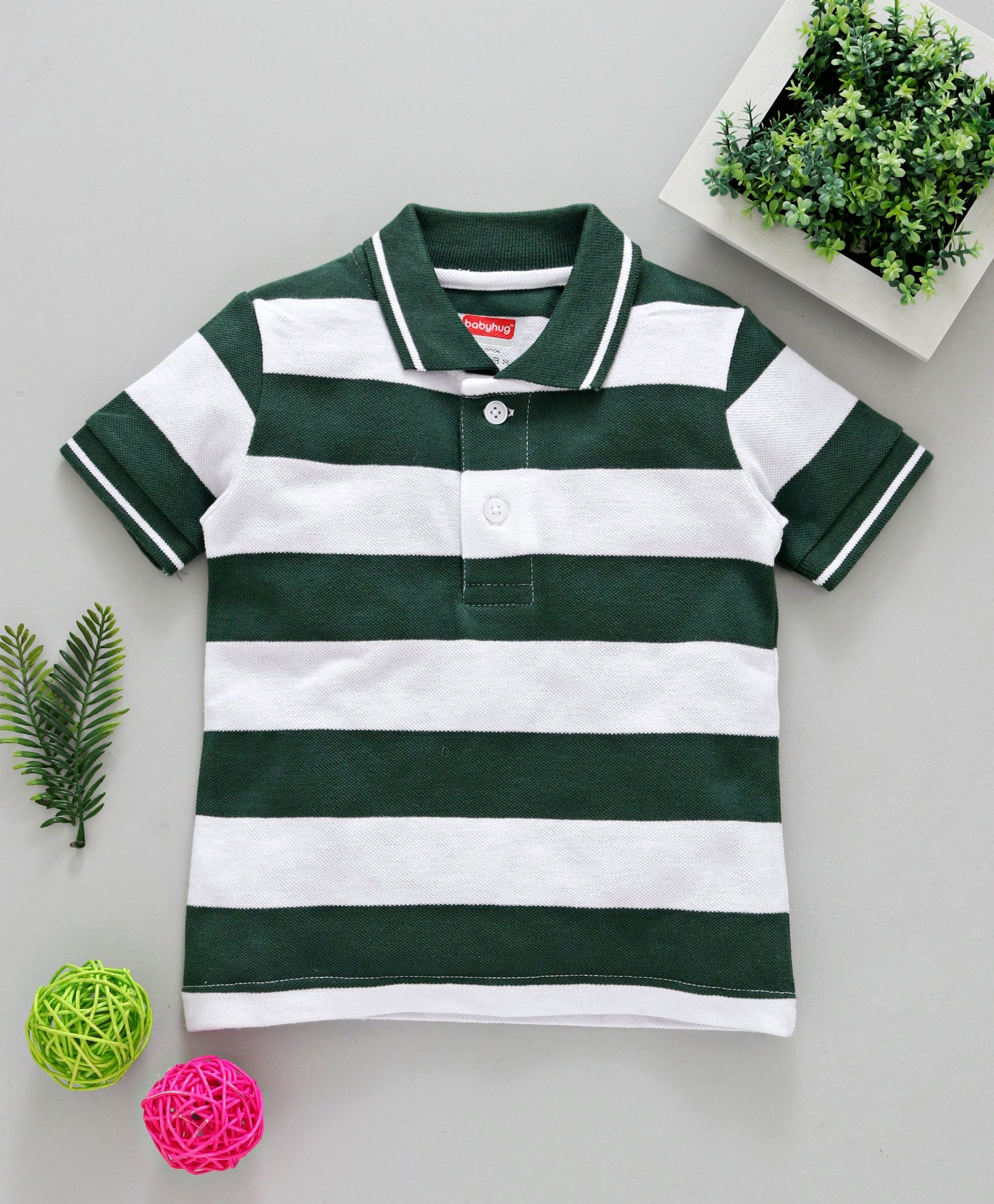 aa29bcb6 Babyhug Cotton Stripes Half Sleeves Pique Polo T-Shirt - Green White