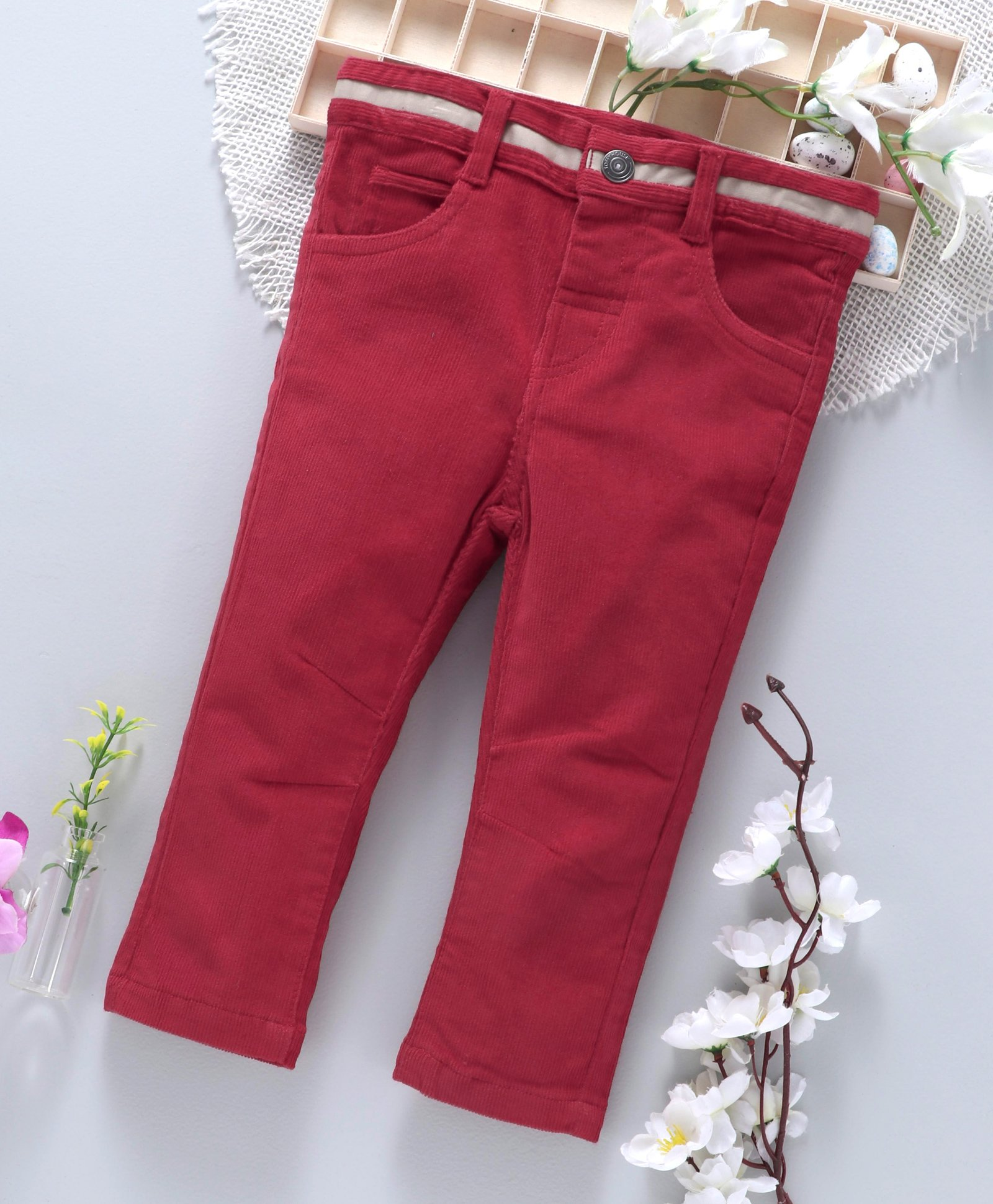 7d0684ed690c2 Buy ToffyHouse Full Length Corduroy Pants Red for Girls (6-9 Months ...