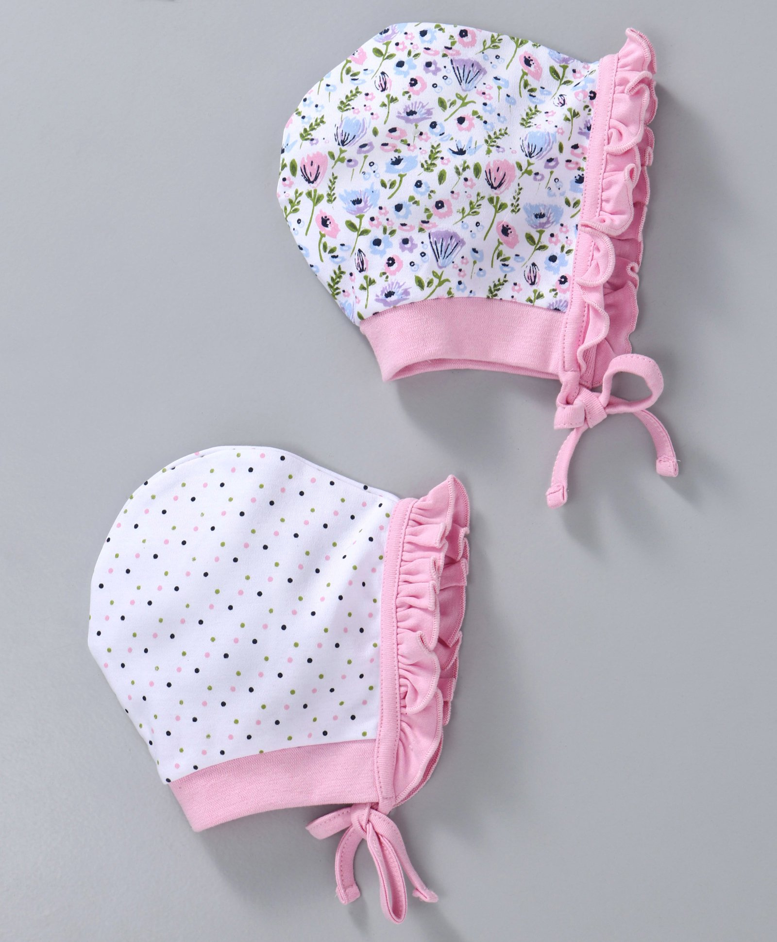 b86e9ba0263 Babyhug Cotton Bonnet Caps Dotted   Floral Print Pack of 2 - Light Pink
