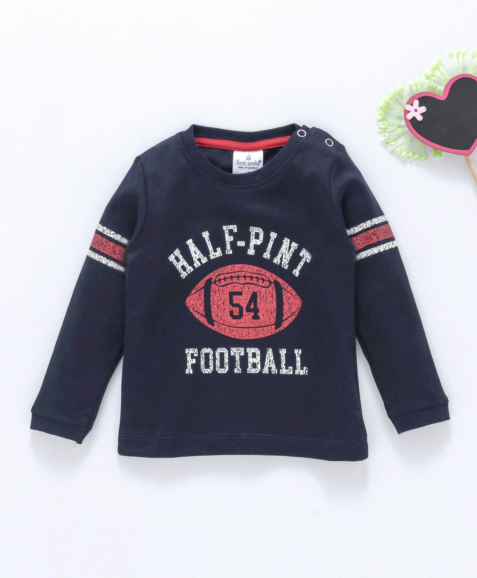 35367ecb53 Buy First Smile Full Sleeves Tee Text & Rugby Ball Print Navy Blue for ...