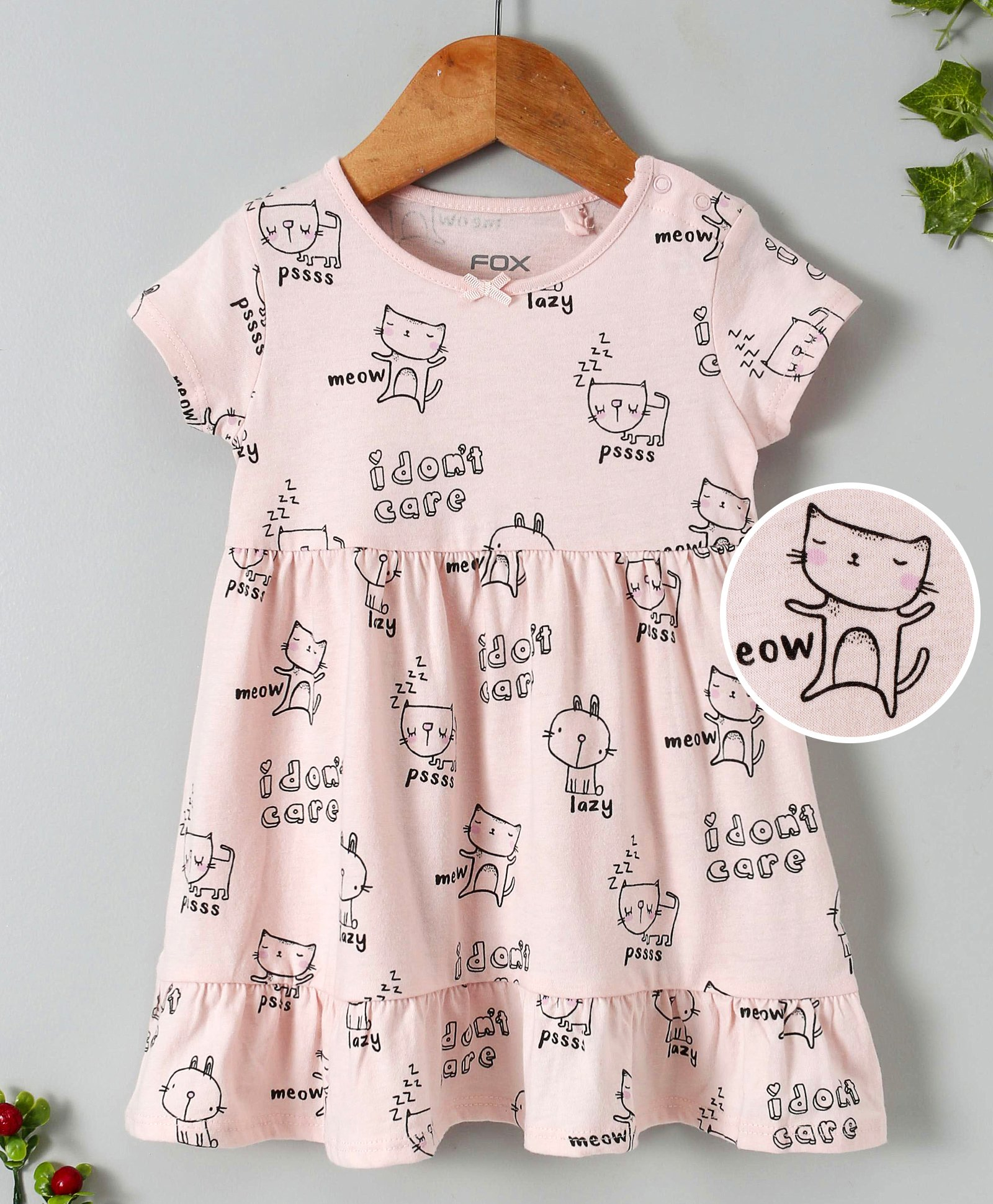 146f46400 Buy Fox Baby Short Sleeves Frock Kitty Print Pastel Pink for Girls (12 ...