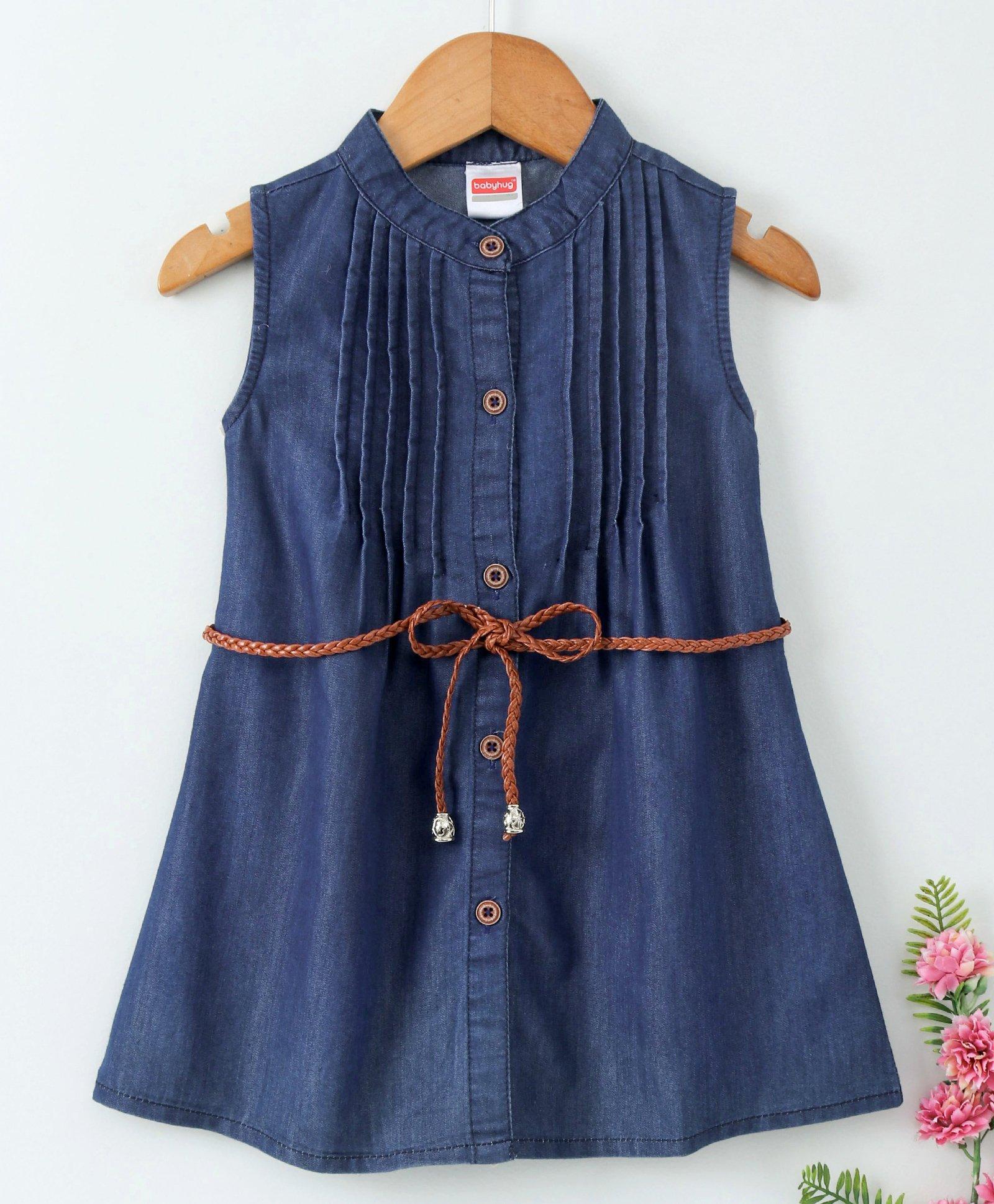 cab2d87c754 Buy Babyhug Sleeveless Denim Frock With Belt Dark Blue for Girls (2 ...