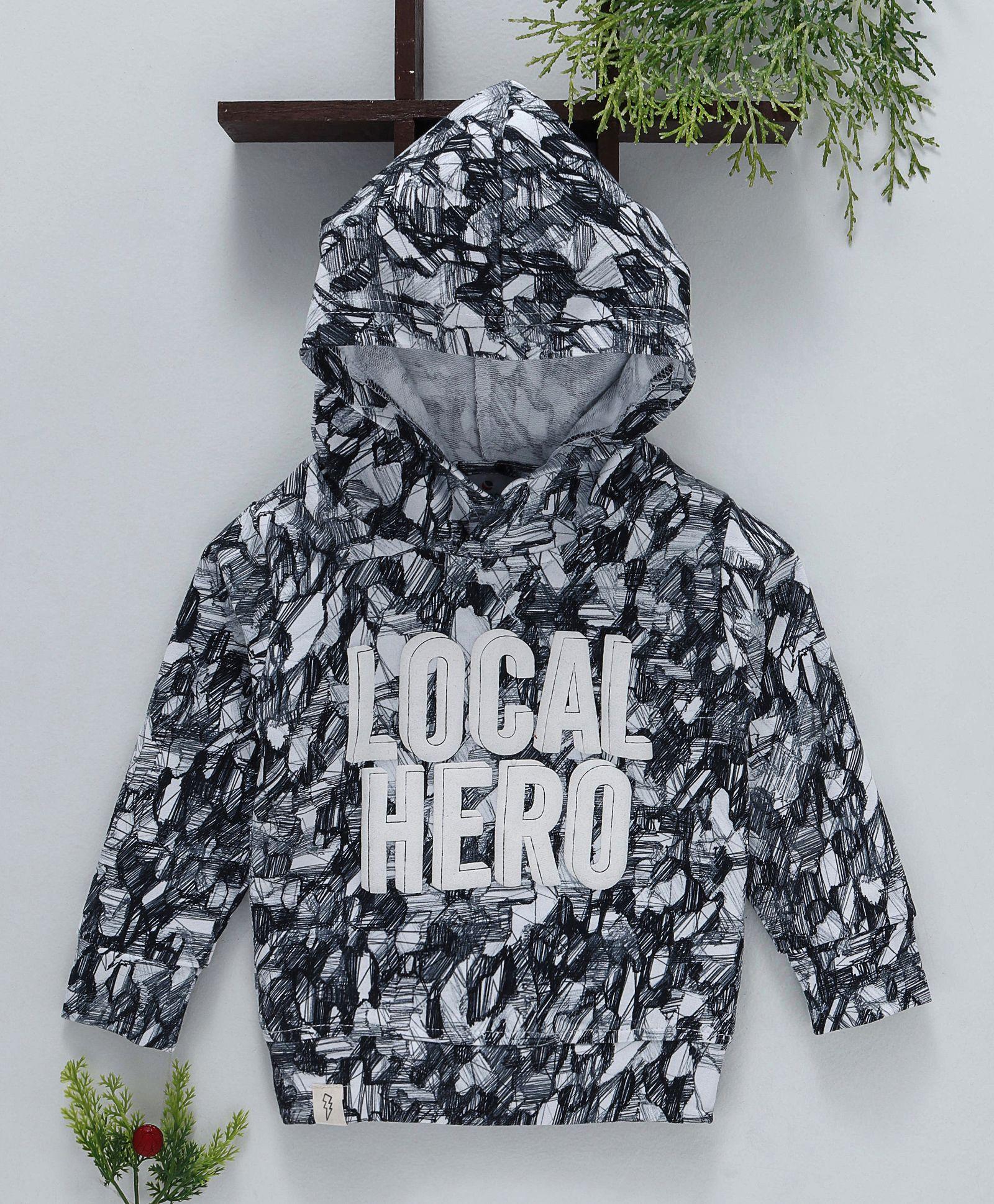aaf8fc249 Buy Ollypop Full Sleeves Hooded Sweatshirt Local Hero Print Grey for ...