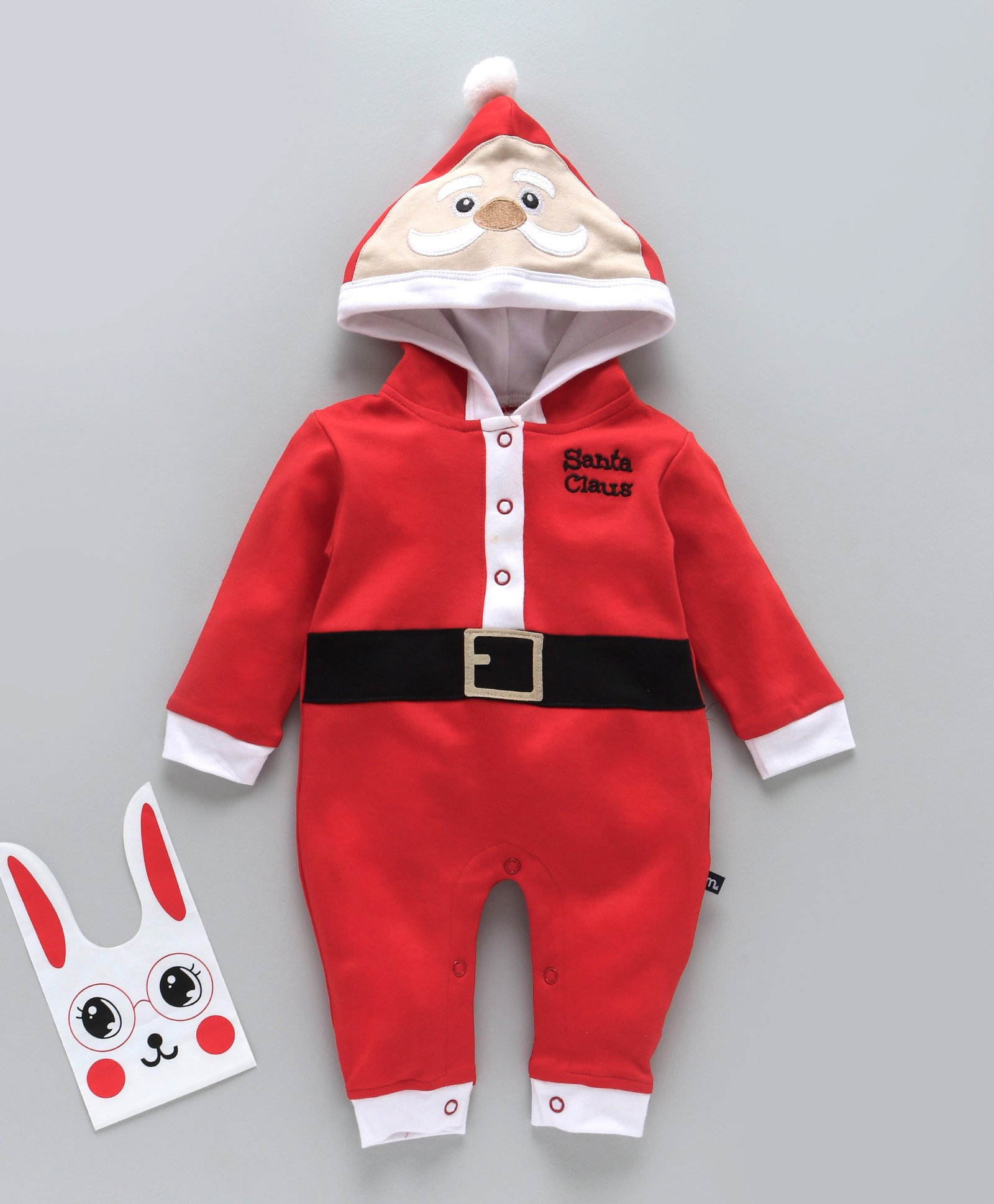 1859f59cf Mom's Love Full Sleeves Hooded Romper Santa Claus Embroidery - Red